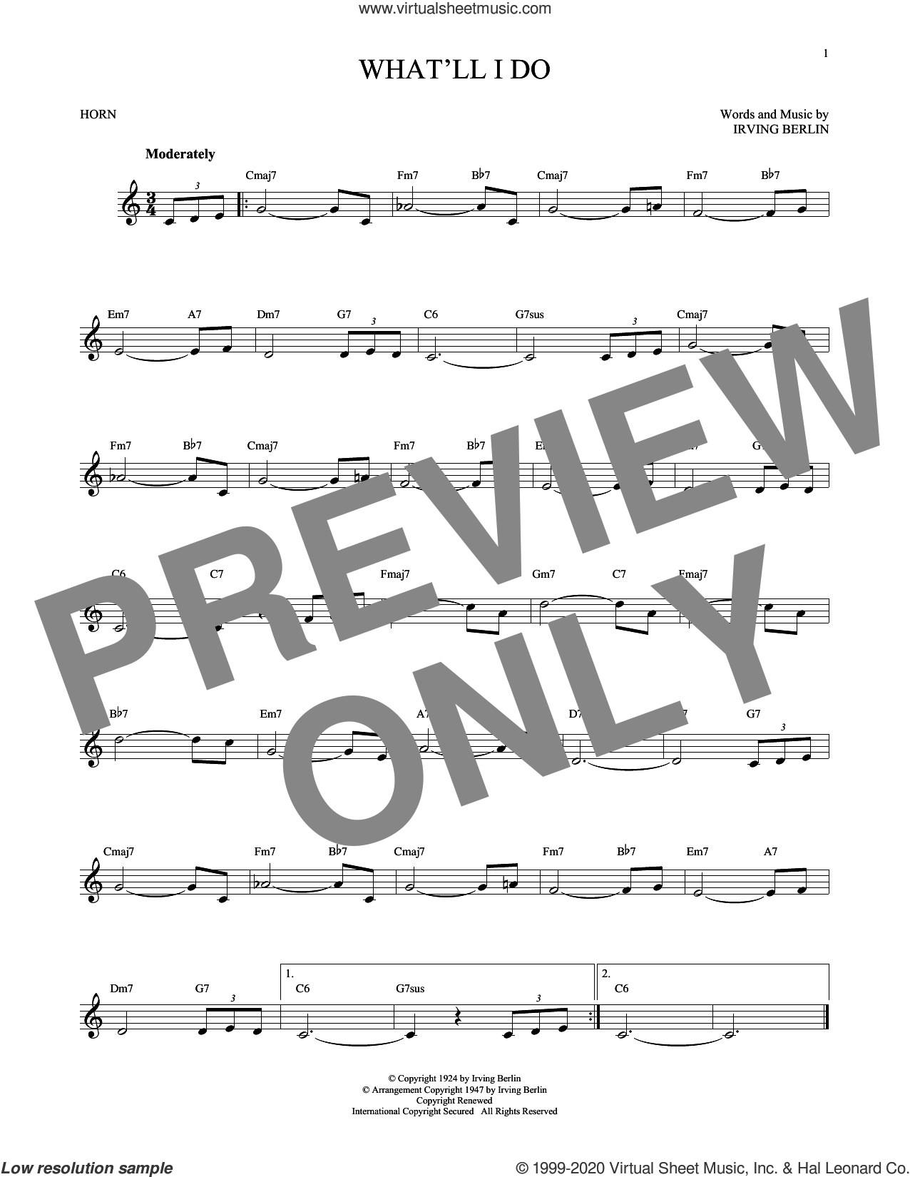 What'll I Do? sheet music for horn solo by Irving Berlin and Bobby Scott, intermediate skill level