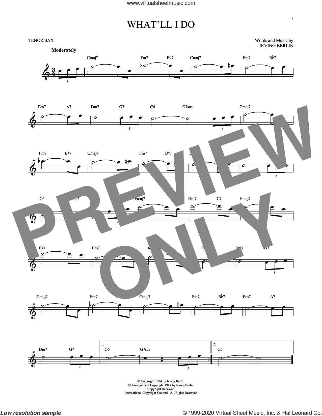 What'll I Do? sheet music for tenor saxophone solo by Irving Berlin and Bobby Scott, intermediate skill level