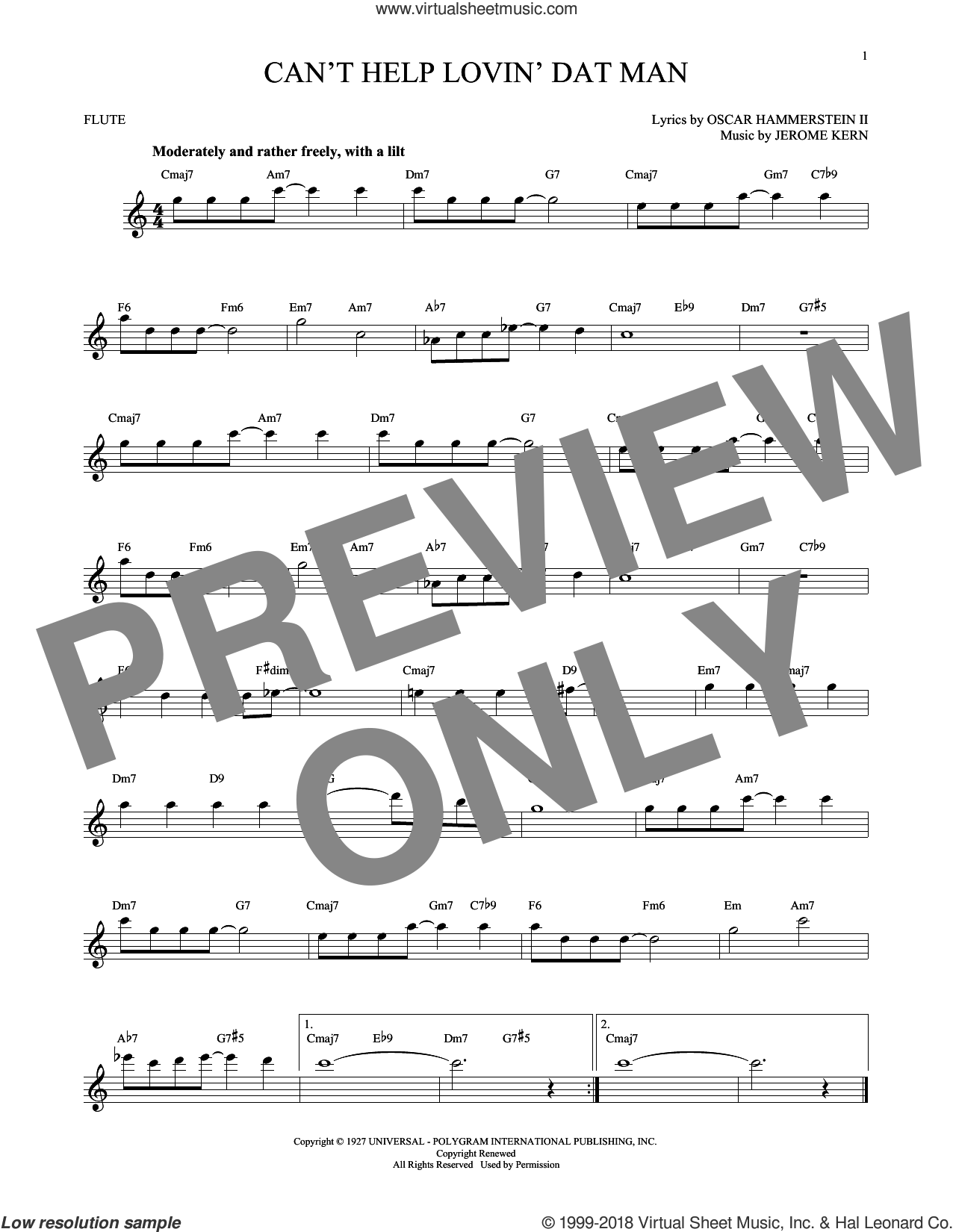 Can't Help Lovin' Dat Man sheet music for flute solo by Oscar II Hammerstein, Helen Morgan and Jerome Kern. Score Image Preview.