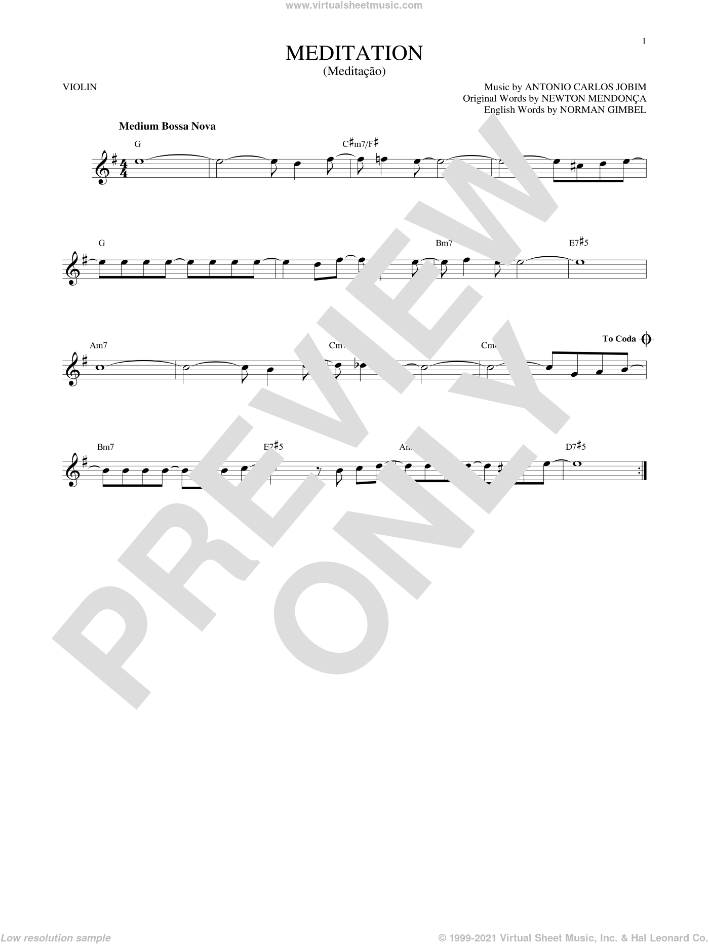 Meditation (Meditacao) sheet music for violin solo by Norman Gimbel, Antonio Carlos Jobim, Newton MendonA�A�a and Newton Mendonca. Score Image Preview.
