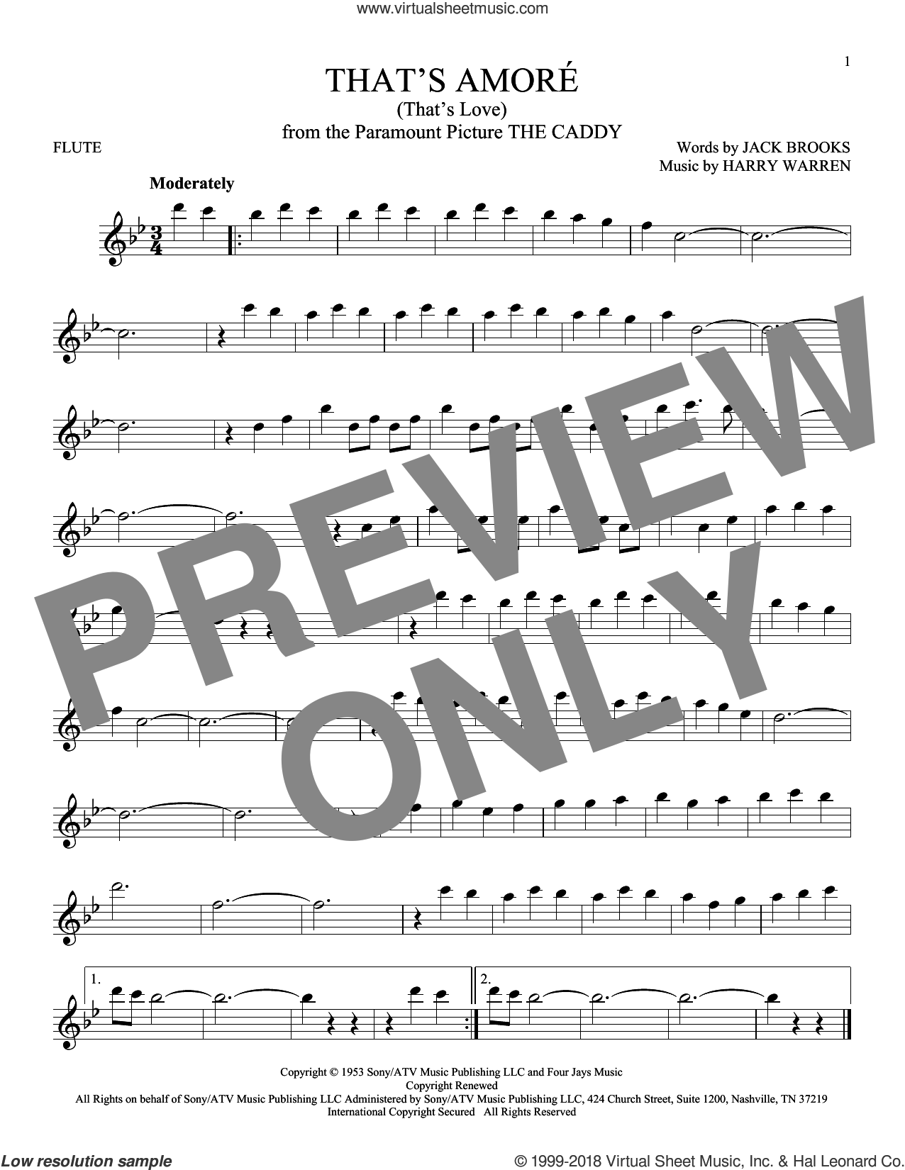 That's Amore (That's Love) sheet music for flute solo by Harry Warren and Jack Brooks, intermediate skill level