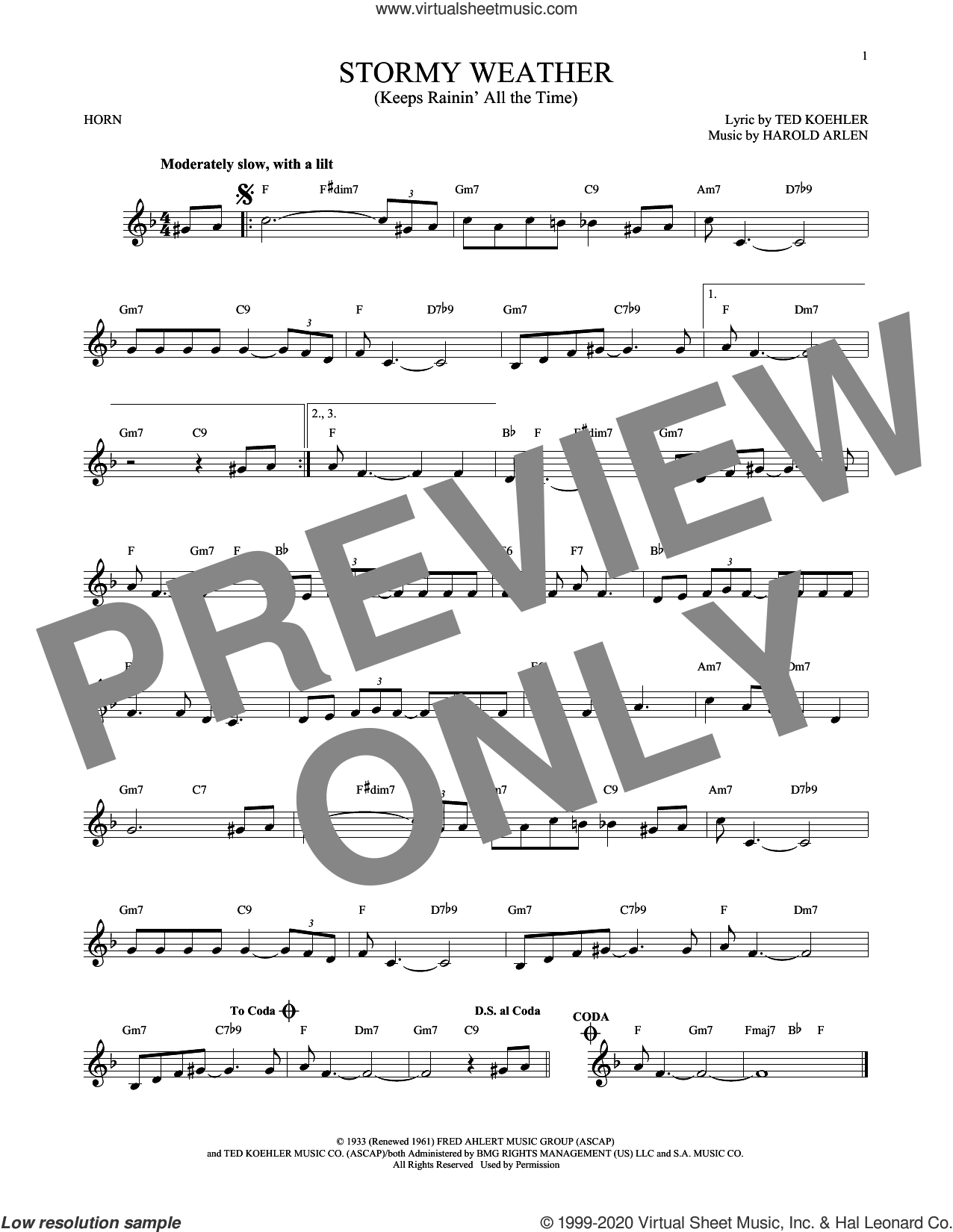 Stormy Weather (Keeps Rainin' All The Time) sheet music for horn solo by Harold Arlen and Ted Koehler, intermediate skill level