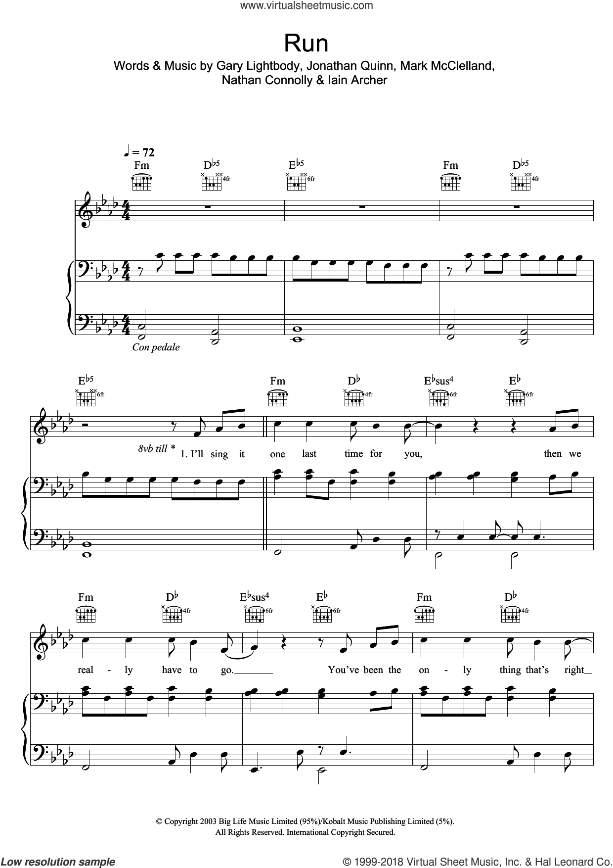 Run sheet music for voice, piano or guitar by Leona Lewis and Snow Patrol, intermediate voice, piano or guitar. Score Image Preview.