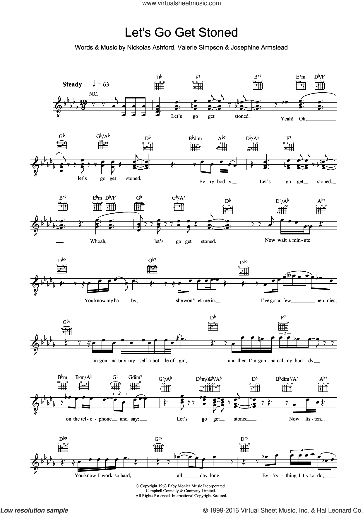 Let's Go Get Stoned sheet music for voice and other instruments (fake book) by Ray Charles, Josephine Armstead, Nickolas Ashford and Valerie Simpson, intermediate voice. Score Image Preview.