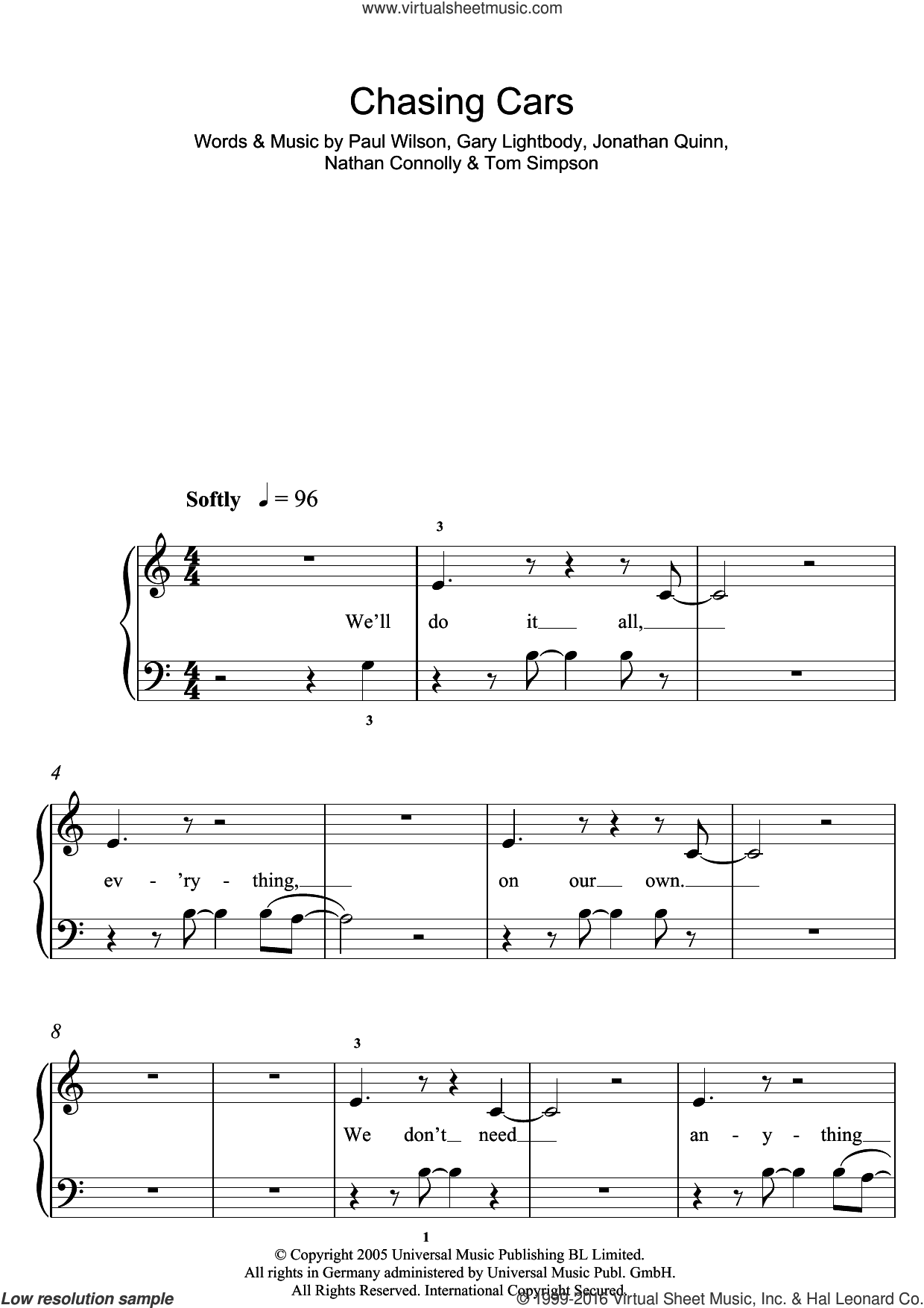 Chasing Cars sheet music for piano solo (5-fingers) by Tom Simpson, Snow Patrol, Gary Lightbody, Nathan Connolly and Paul Wilson. Score Image Preview.
