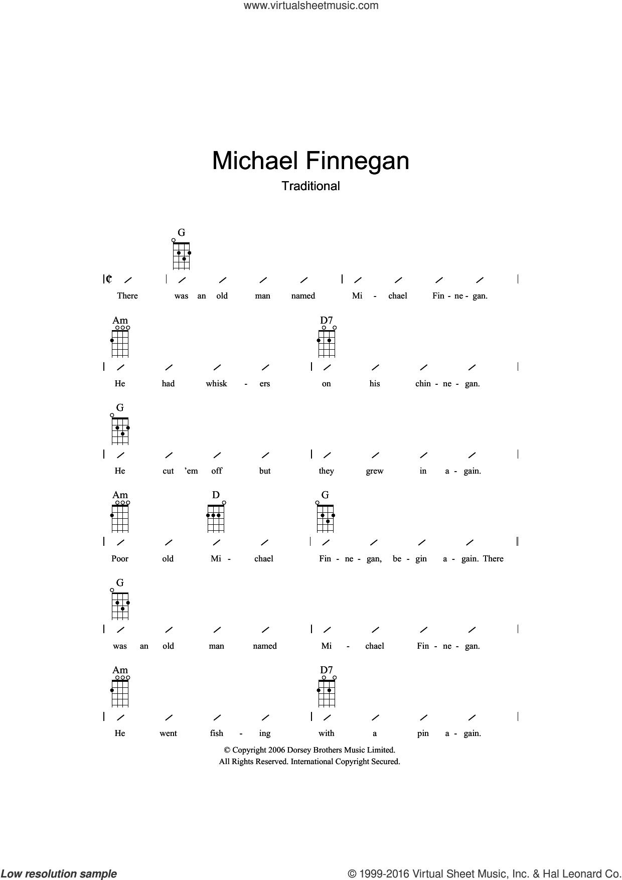 Michael Finnegan sheet music for ukulele (chords), intermediate skill level