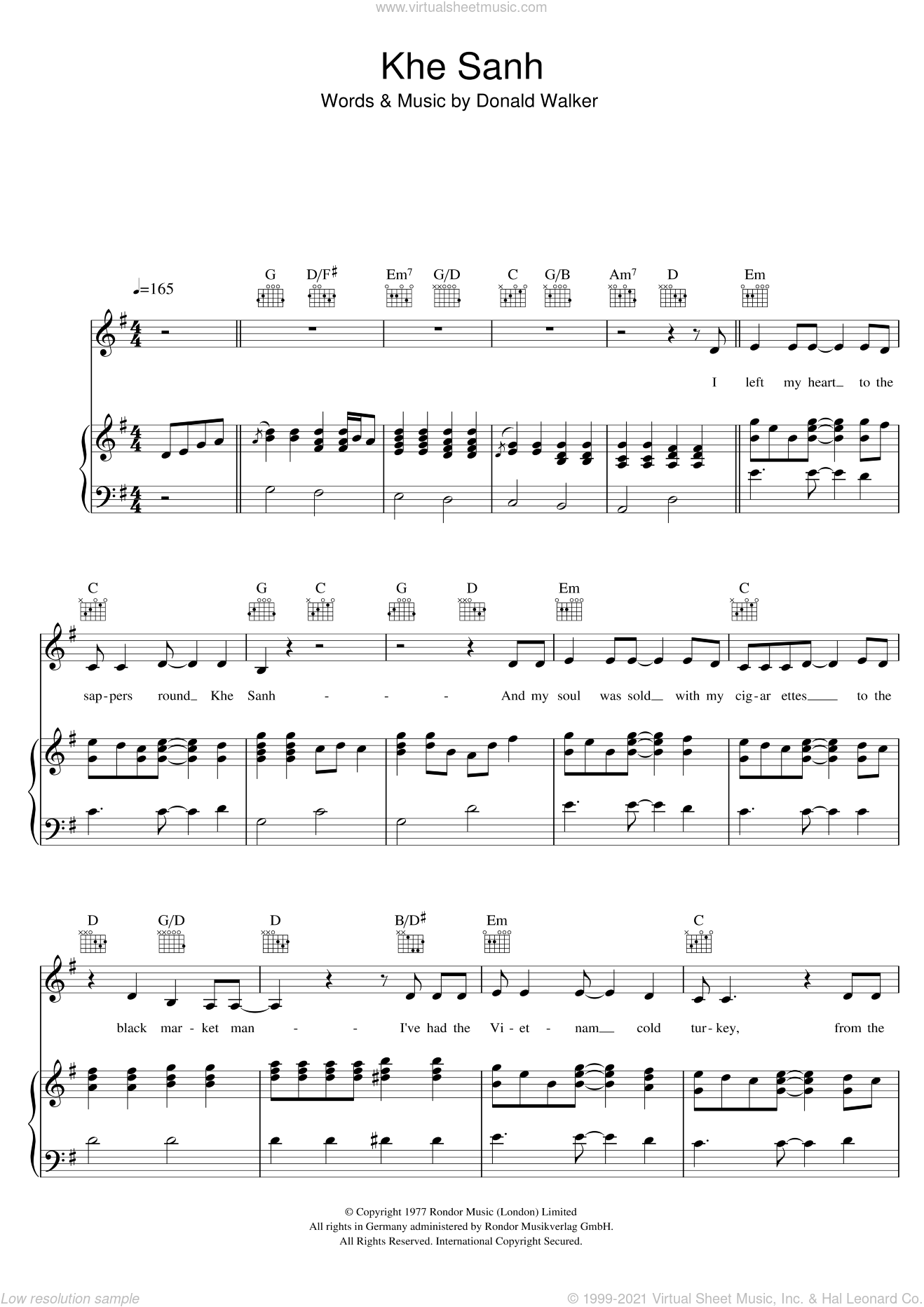 Khe Sanh sheet music for voice, piano or guitar by Cold Chisel and Donald Walker, intermediate skill level