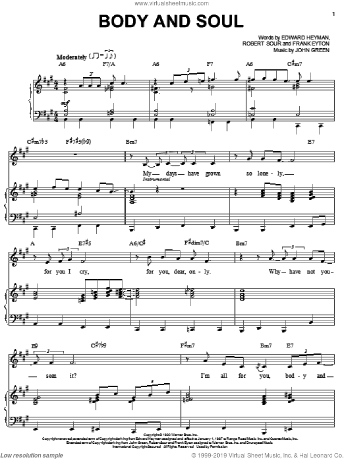 Body And Soul sheet music for voice and piano by Robert Sour, Billie Holiday, Edward Heyman, Frank Eyton and Johnny Green. Score Image Preview.