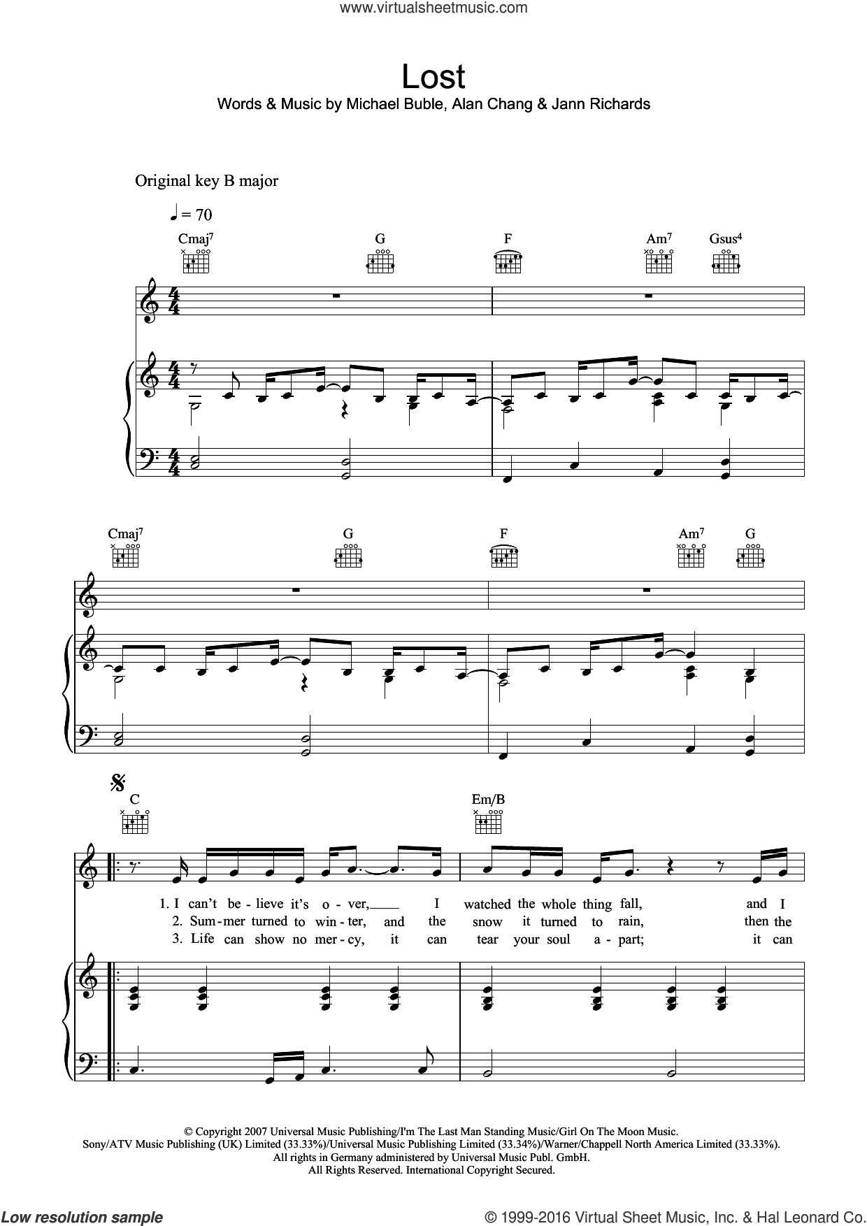 Lost sheet music for voice, piano or guitar by Michael Buble and Alan Chang. Score Image Preview.