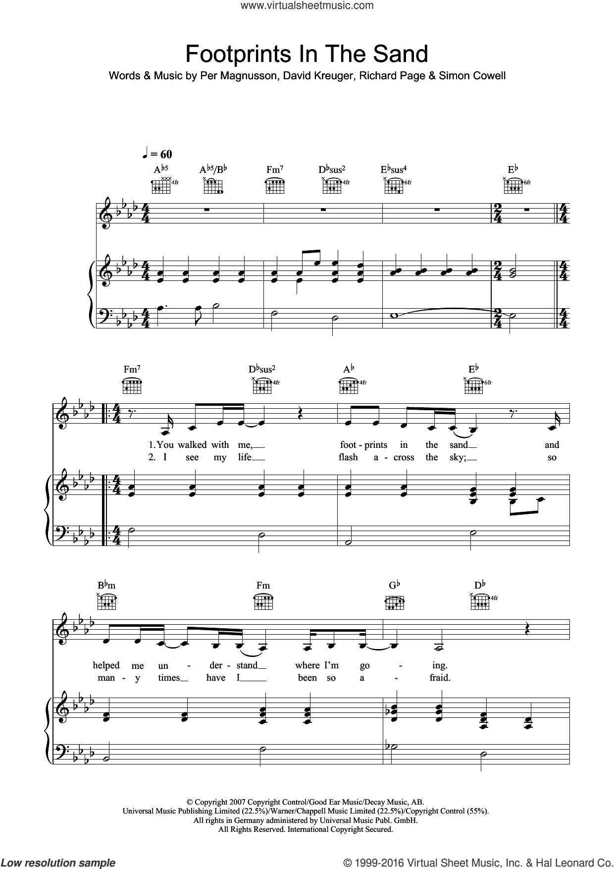 Footprints In The Sand sheet music for voice, piano or guitar by Leona Lewis, David Kreuger, Per Magnusson, Richard Page and Simon Cowell, intermediate skill level