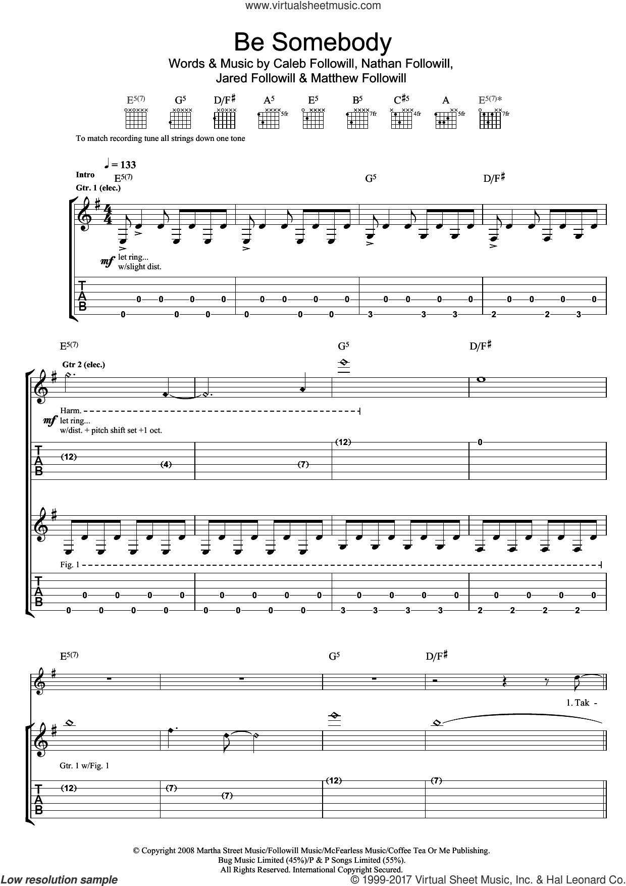 Be Somebody sheet music for guitar (tablature) by Kings Of Leon, Caleb Followill, Jared Followill, Matthew Followill and Nathan Followill, intermediate skill level