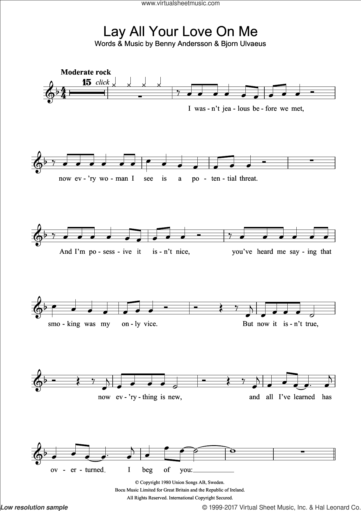 Lay All Your Love On Me sheet music for flute solo by ABBA, Benny Andersson and Bjorn Ulvaeus, intermediate skill level