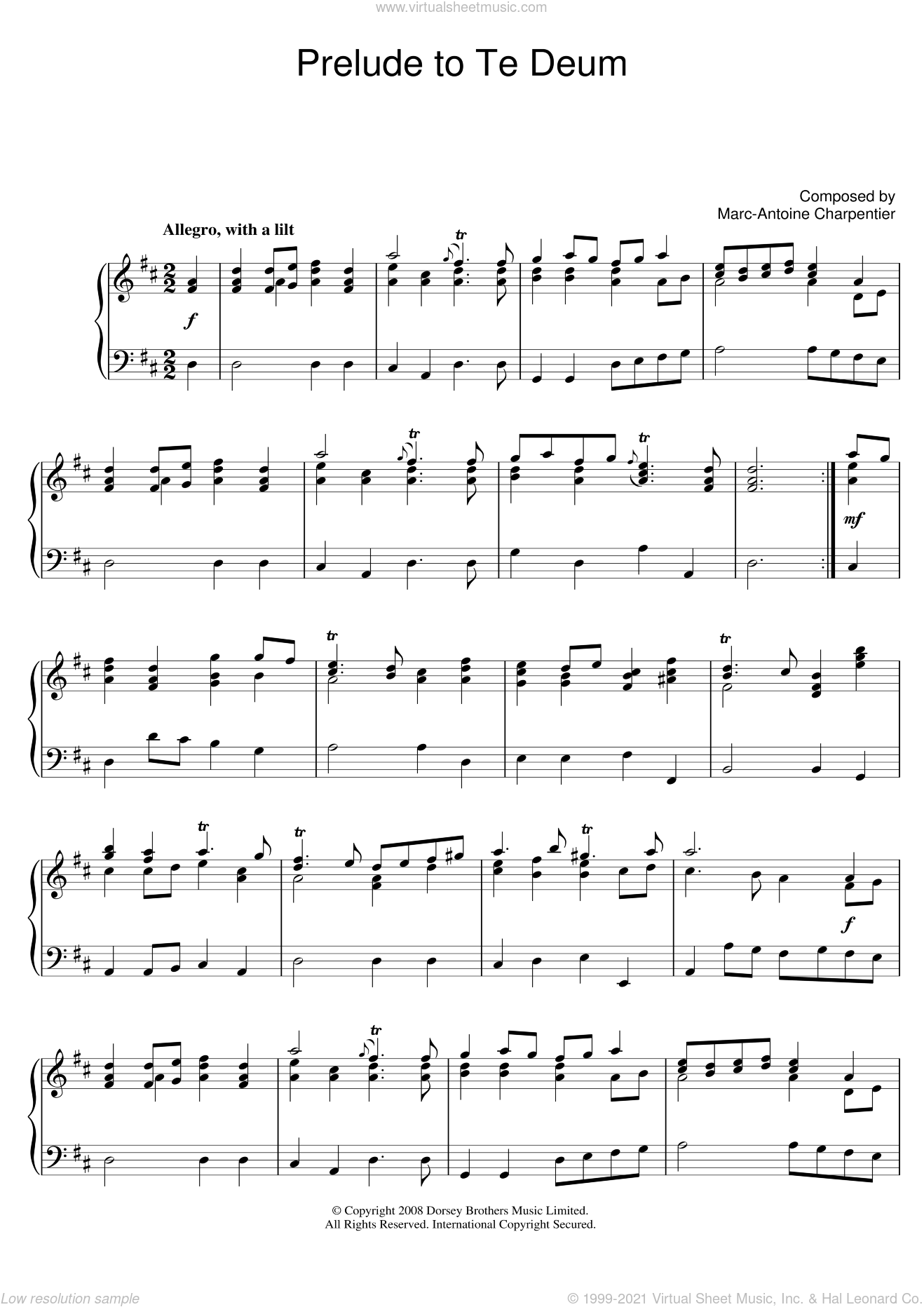 Prelude (from Te Deum) sheet music for piano solo by Marc-Antoine Charpentier, classical score, intermediate skill level