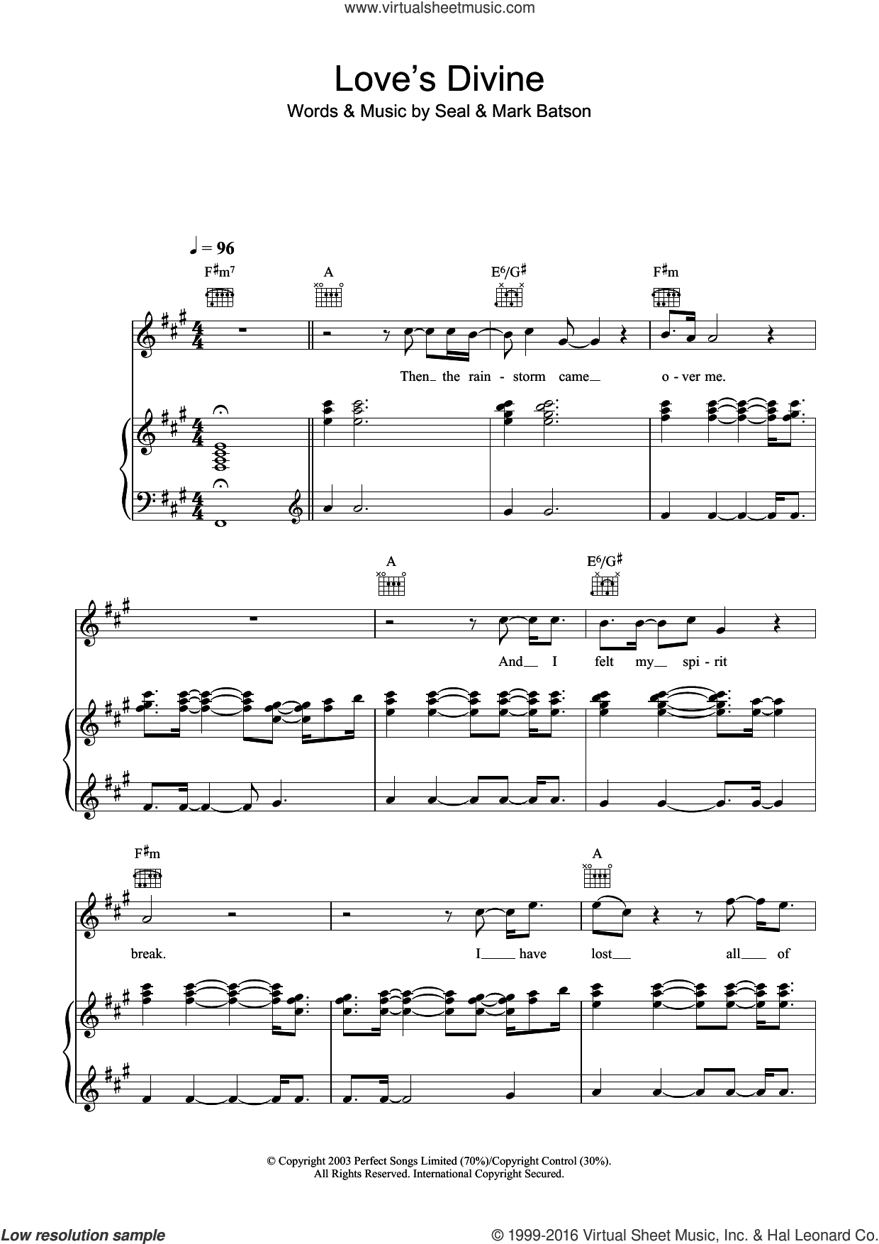 Love's Divine sheet music for voice, piano or guitar by Mark Batson and Manuel Seal. Score Image Preview.
