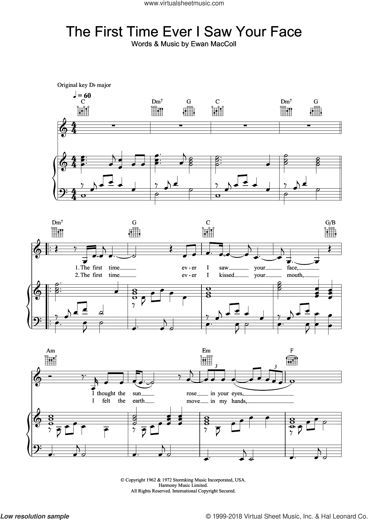 The First Time Ever I Saw Your Face sheet music for voice, piano or guitar by Leona Lewis and Ewan MacColl, intermediate skill level