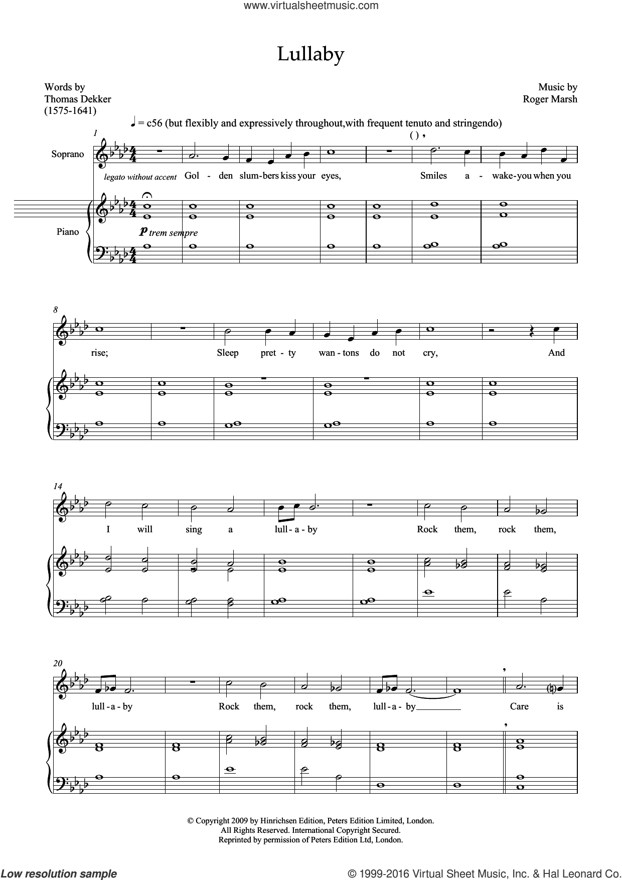 Lullaby (for soprano and marimba) sheet music for voice and piano by Roger Marsh and Thomas Dekker, classical score, intermediate skill level