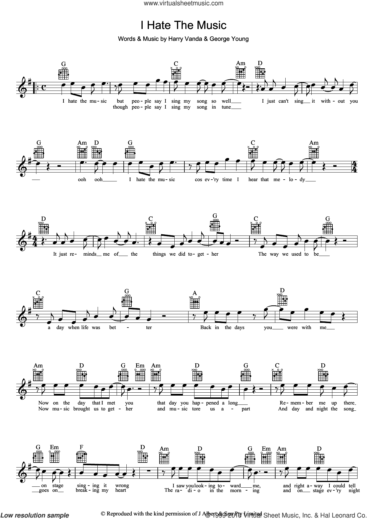 I Hate The Music sheet music for voice, piano or guitar by John Paul Young, George Young and Harry Vanda, intermediate