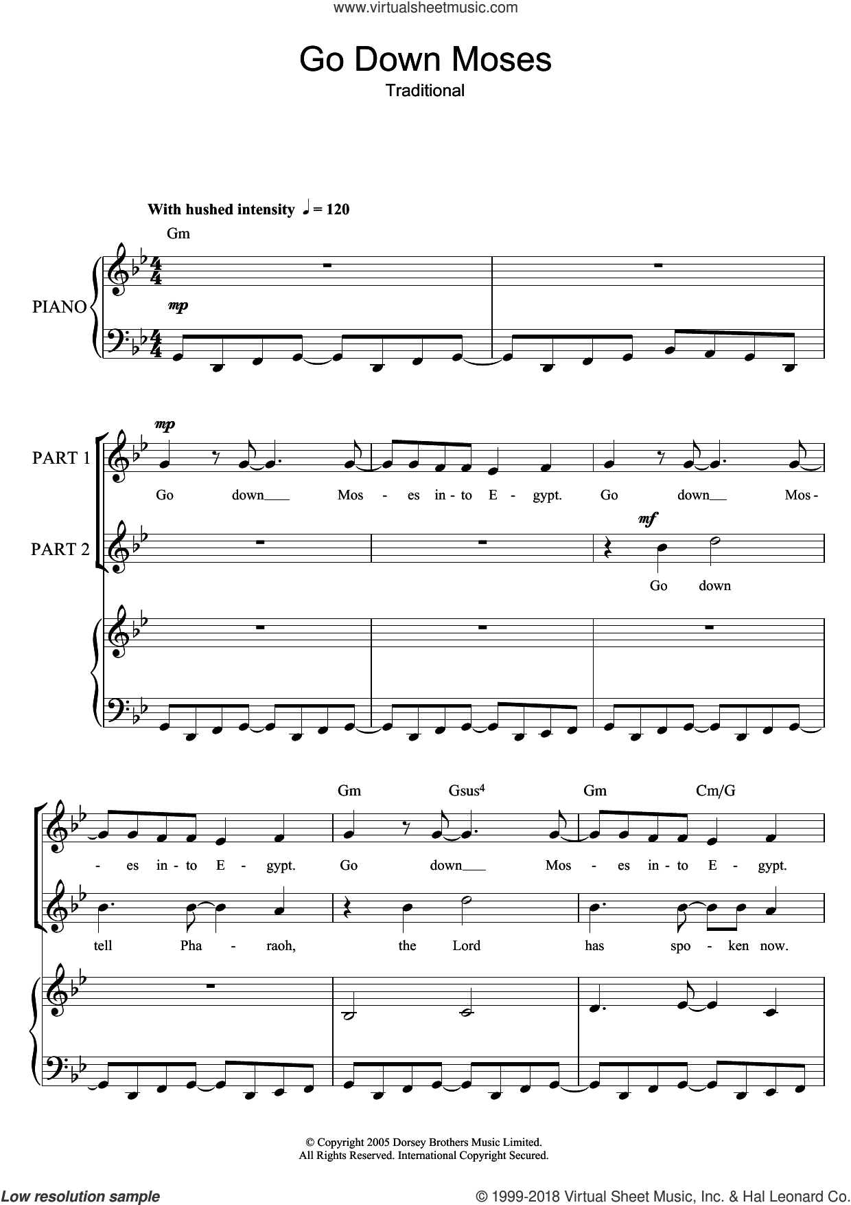 Go Down Moses sheet music for choir (2-Part), intermediate duet