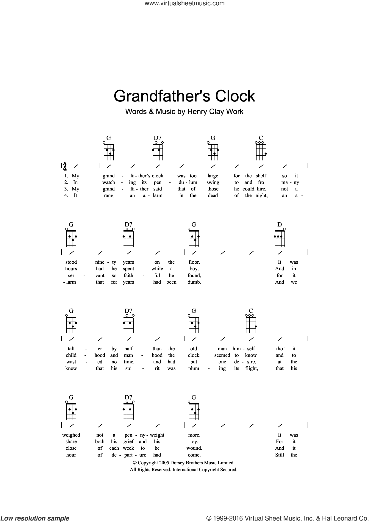 Grandfather's Clock sheet music for ukulele (chords) by Henry Clay Work, intermediate. Score Image Preview.