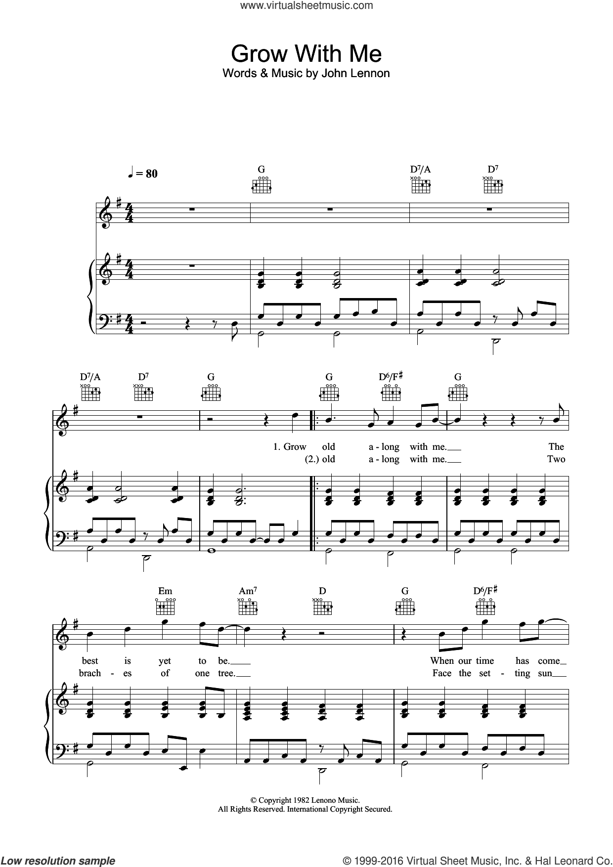 Grow Old With Me sheet music for voice, piano or guitar by John Lennon, intermediate skill level