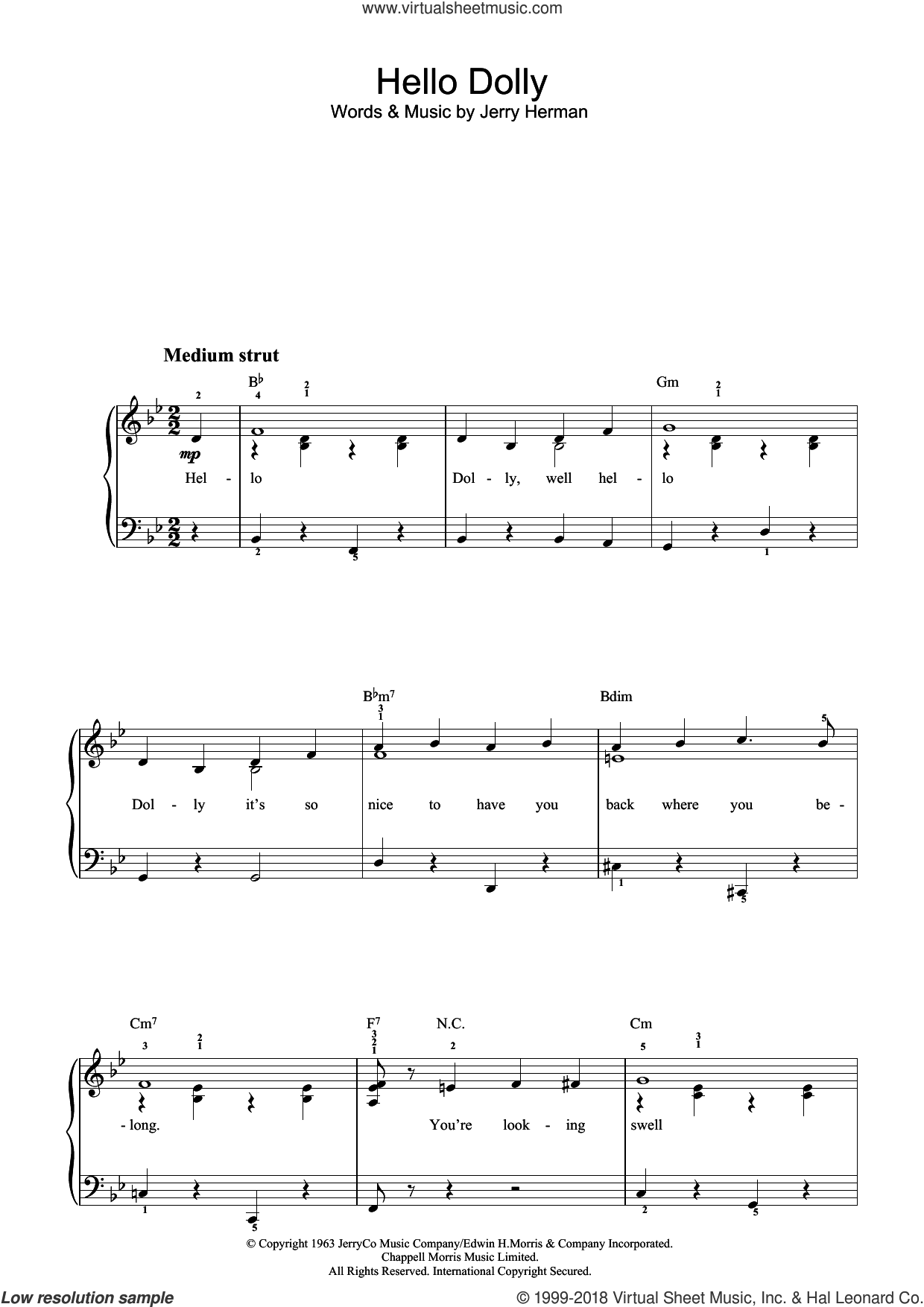 Hello Dolly sheet music for piano solo by Jerry Herman, easy skill level