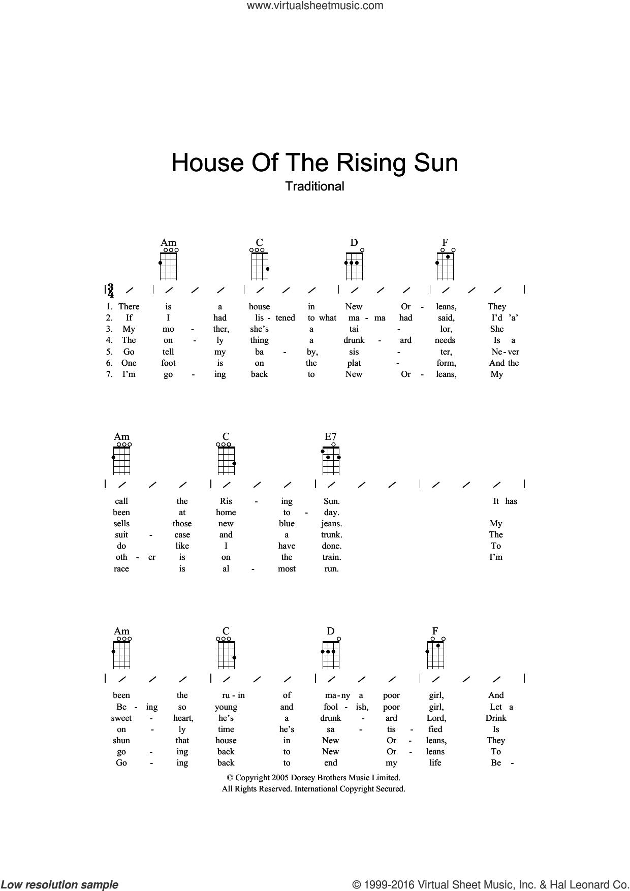 House Of The Rising Sun sheet music for ukulele (chords), intermediate skill level