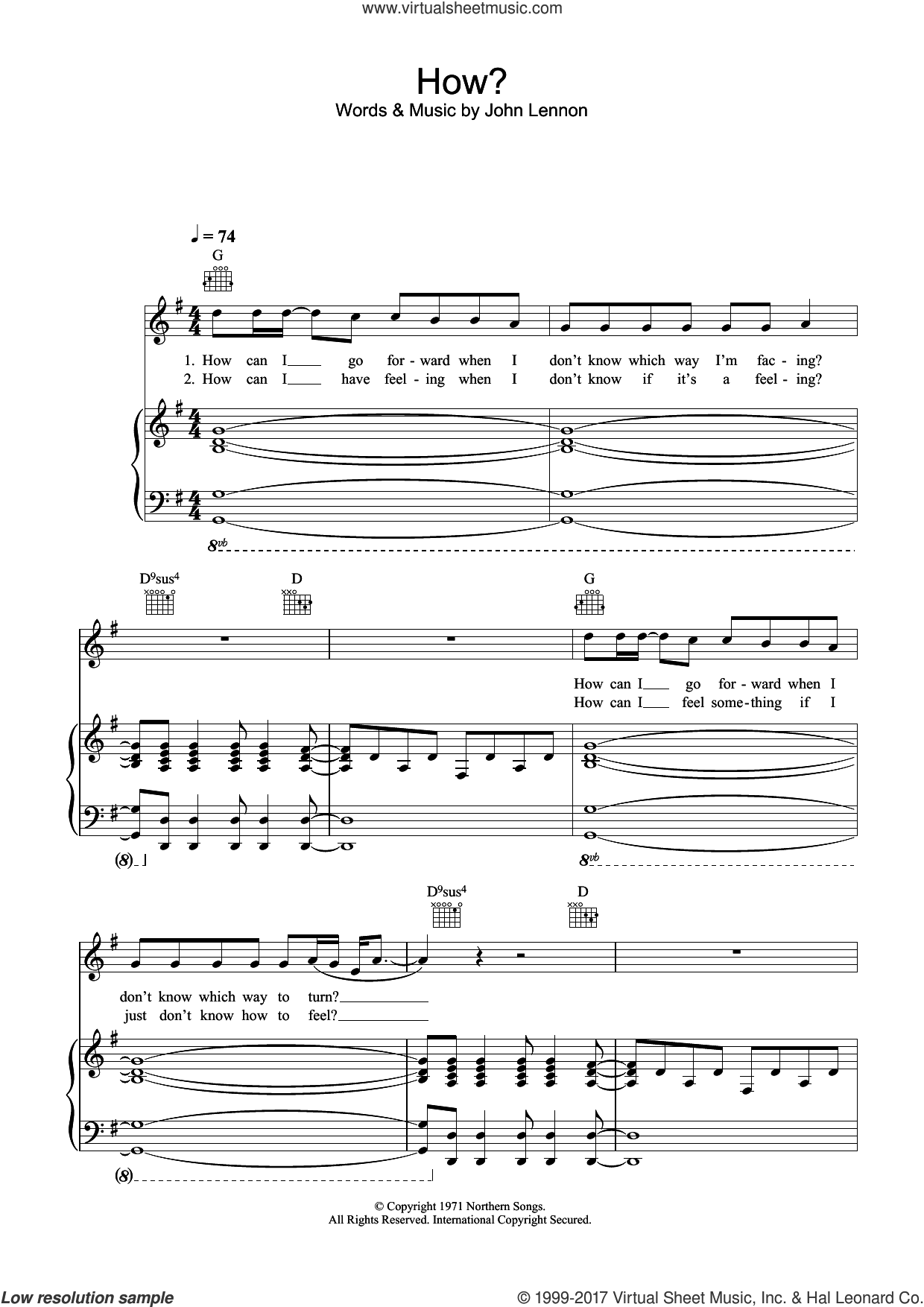 How sheet music for voice, piano or guitar by John Lennon, intermediate. Score Image Preview.