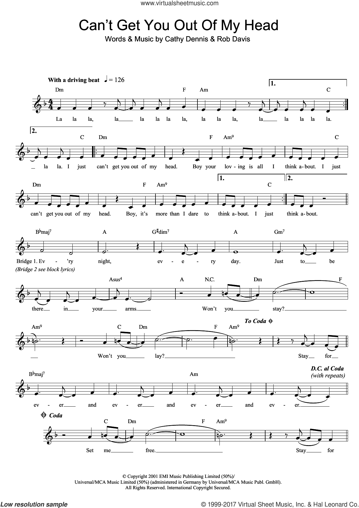 Can't Get You Out Of My Head sheet music for voice and other instruments (fake book) by Kylie Minogue, Cathy Dennis and Rob Davis, intermediate skill level