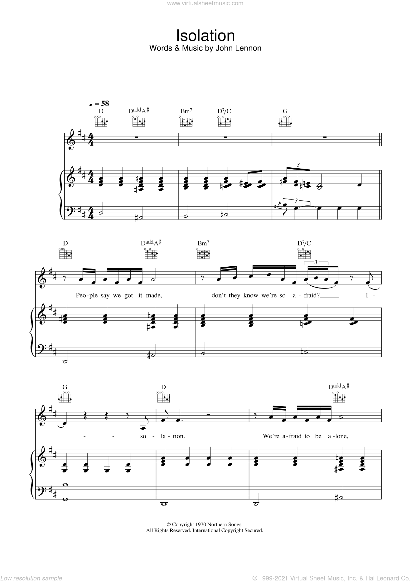 Isolation sheet music for voice, piano or guitar by John Lennon, intermediate skill level