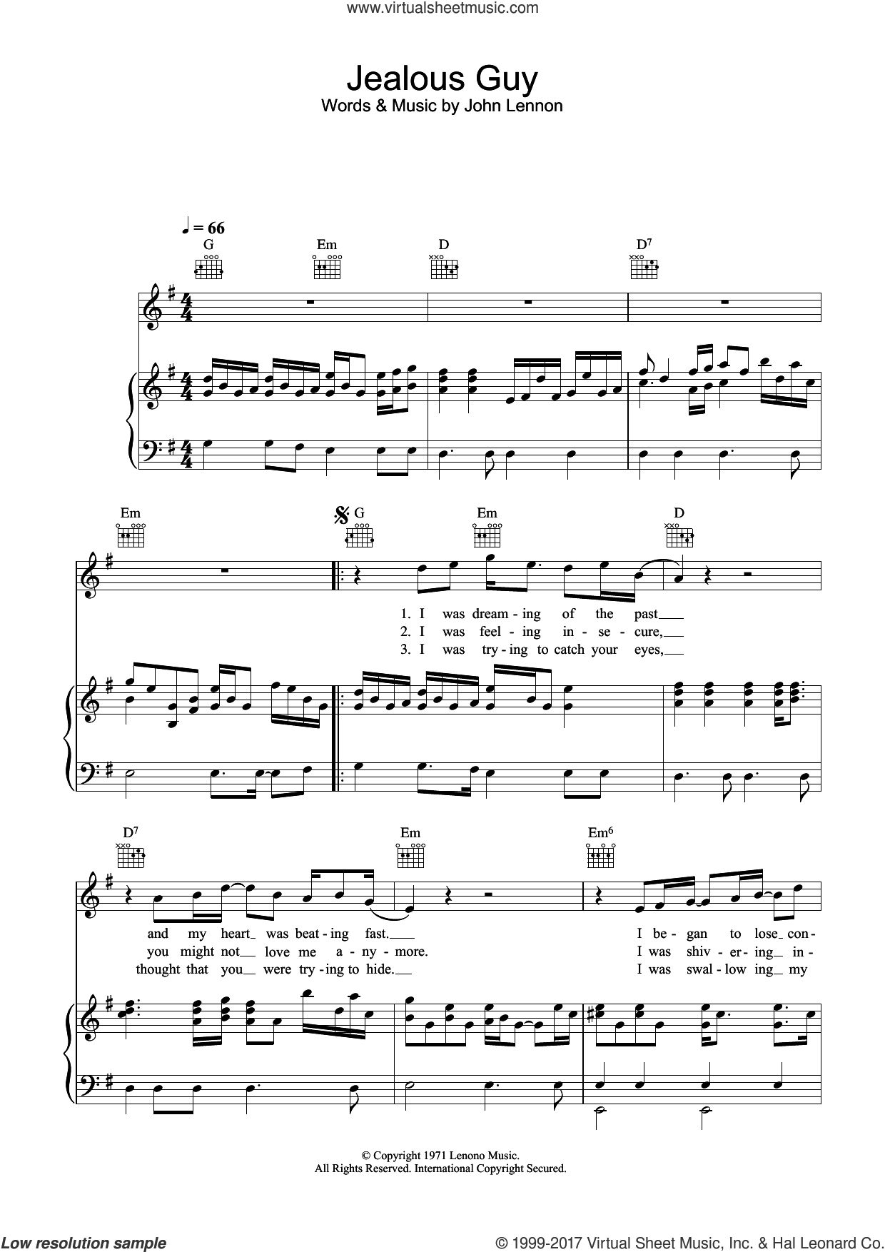 Jealous Guy sheet music for voice, piano or guitar by John Lennon, intermediate skill level
