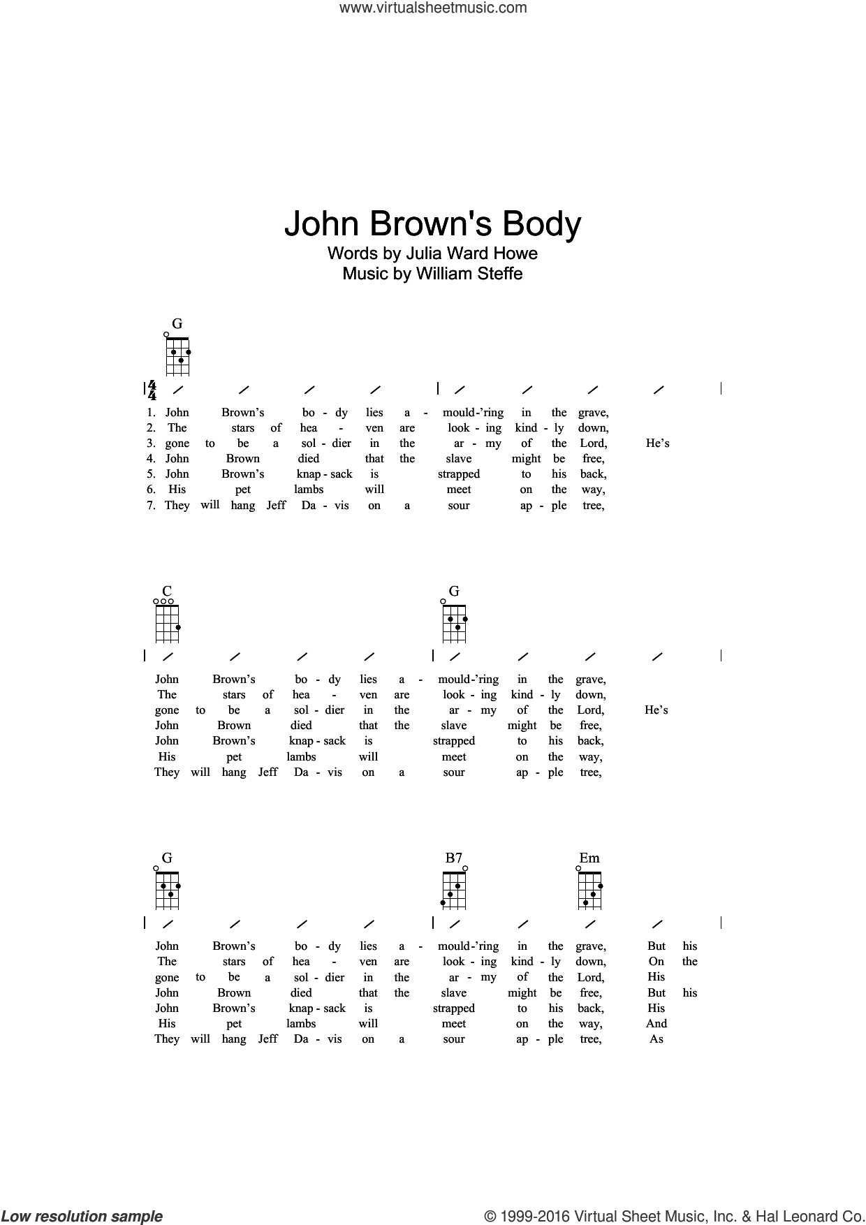 John Brown's Body sheet music for ukulele (chords) by William Steffe, Miscellaneous and Julia Ward Howe. Score Image Preview.