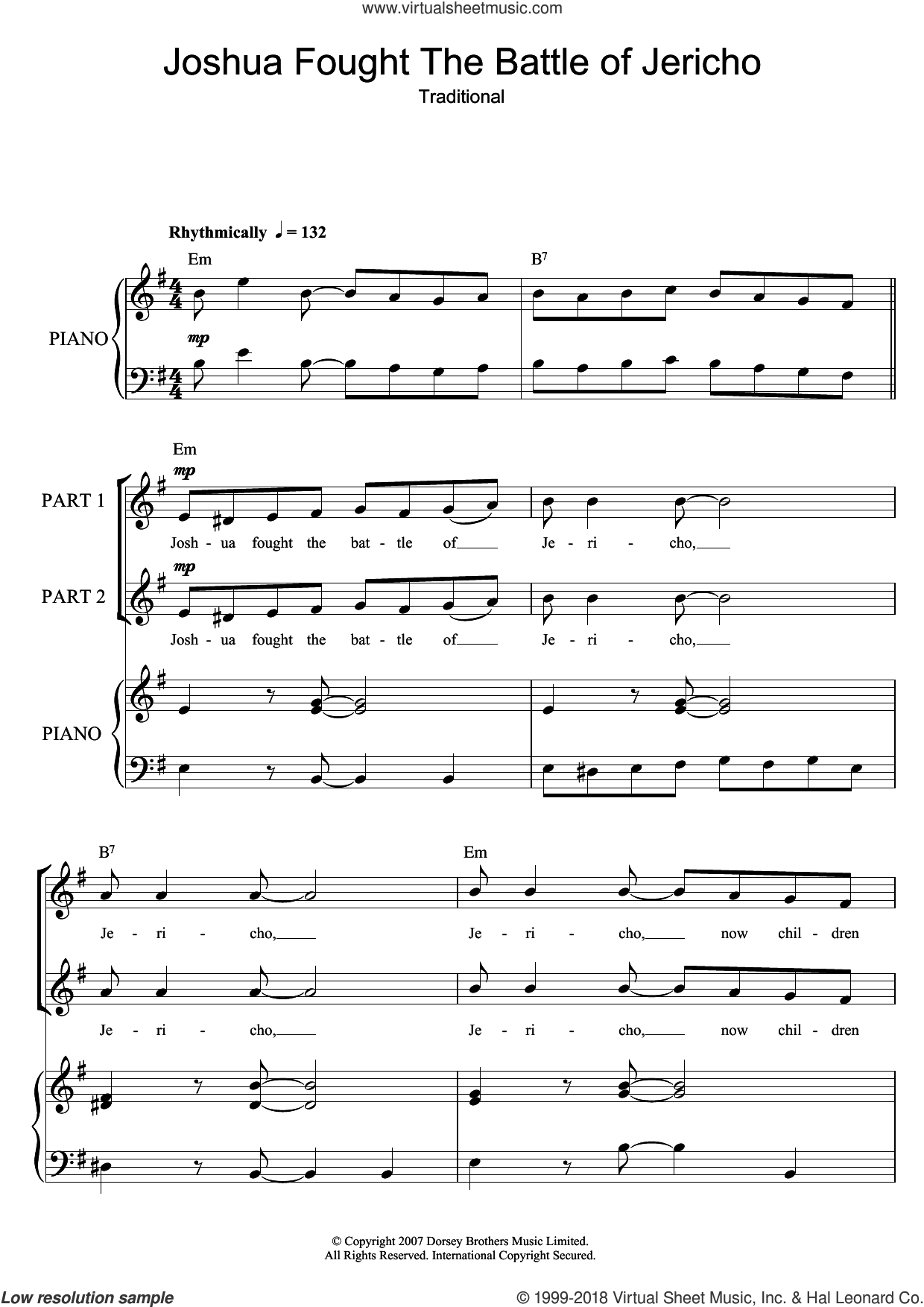 Joshua Fit De Battle Of Jericho sheet music for choir, intermediate skill level