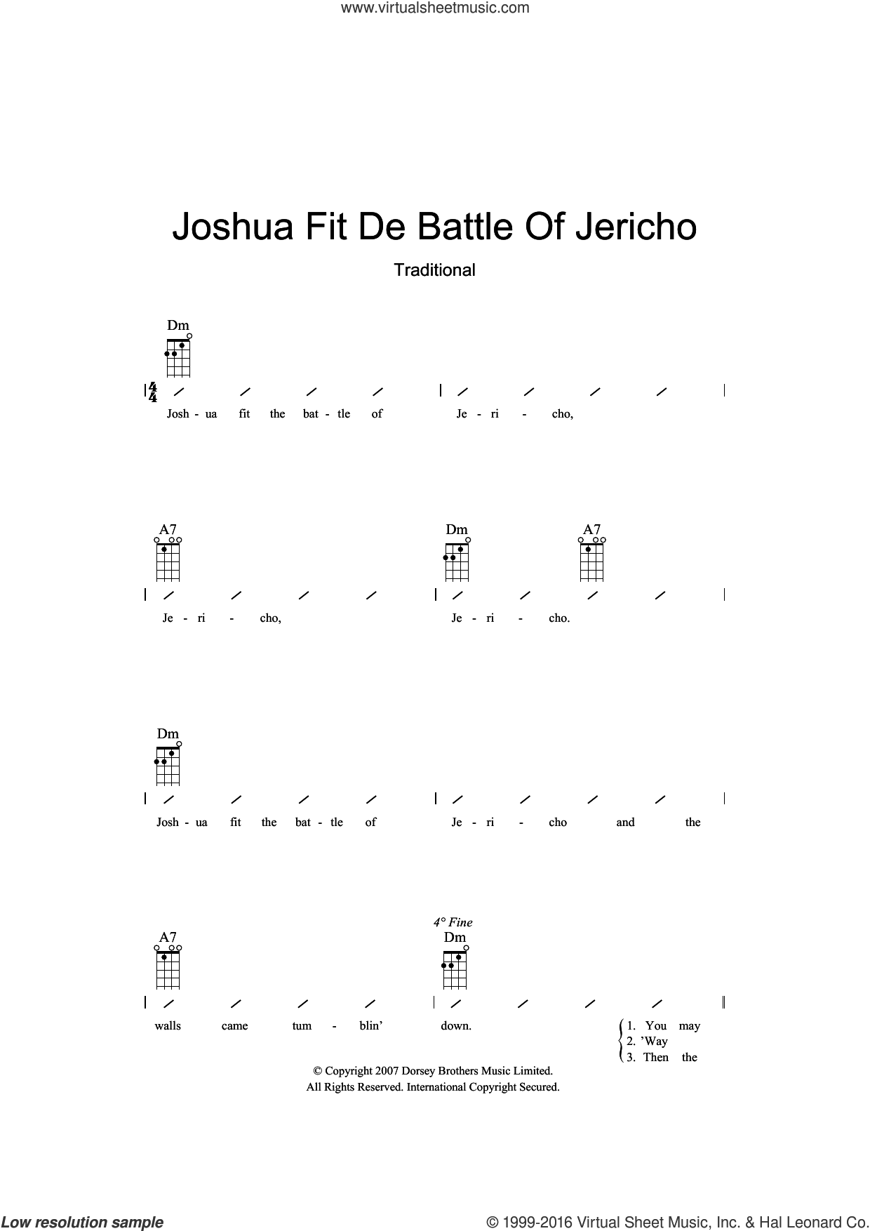 Joshua Fit De Battle Of Jericho sheet music for ukulele (chords), intermediate