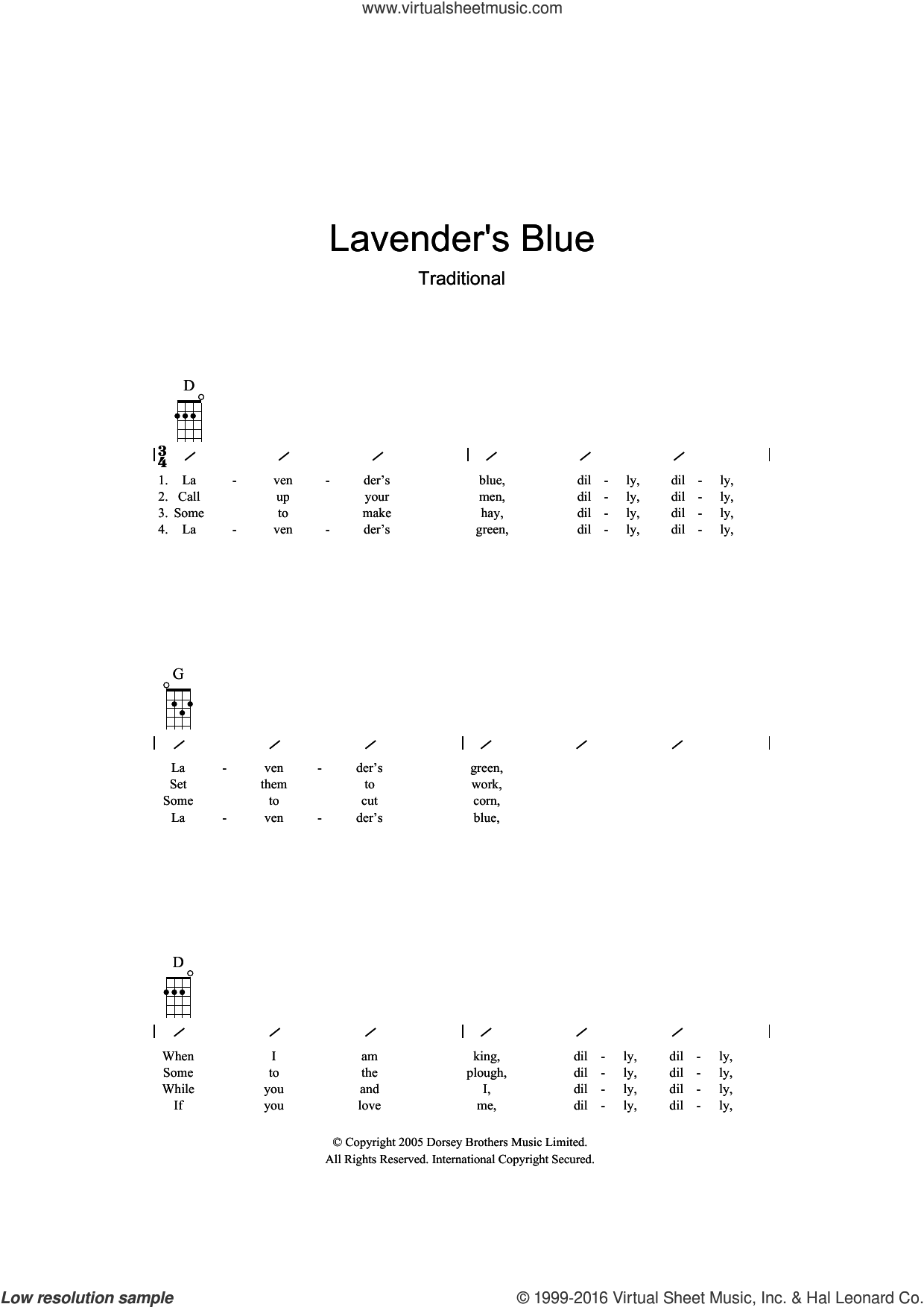 Lavender Blue sheet music for ukulele (chords), intermediate skill level