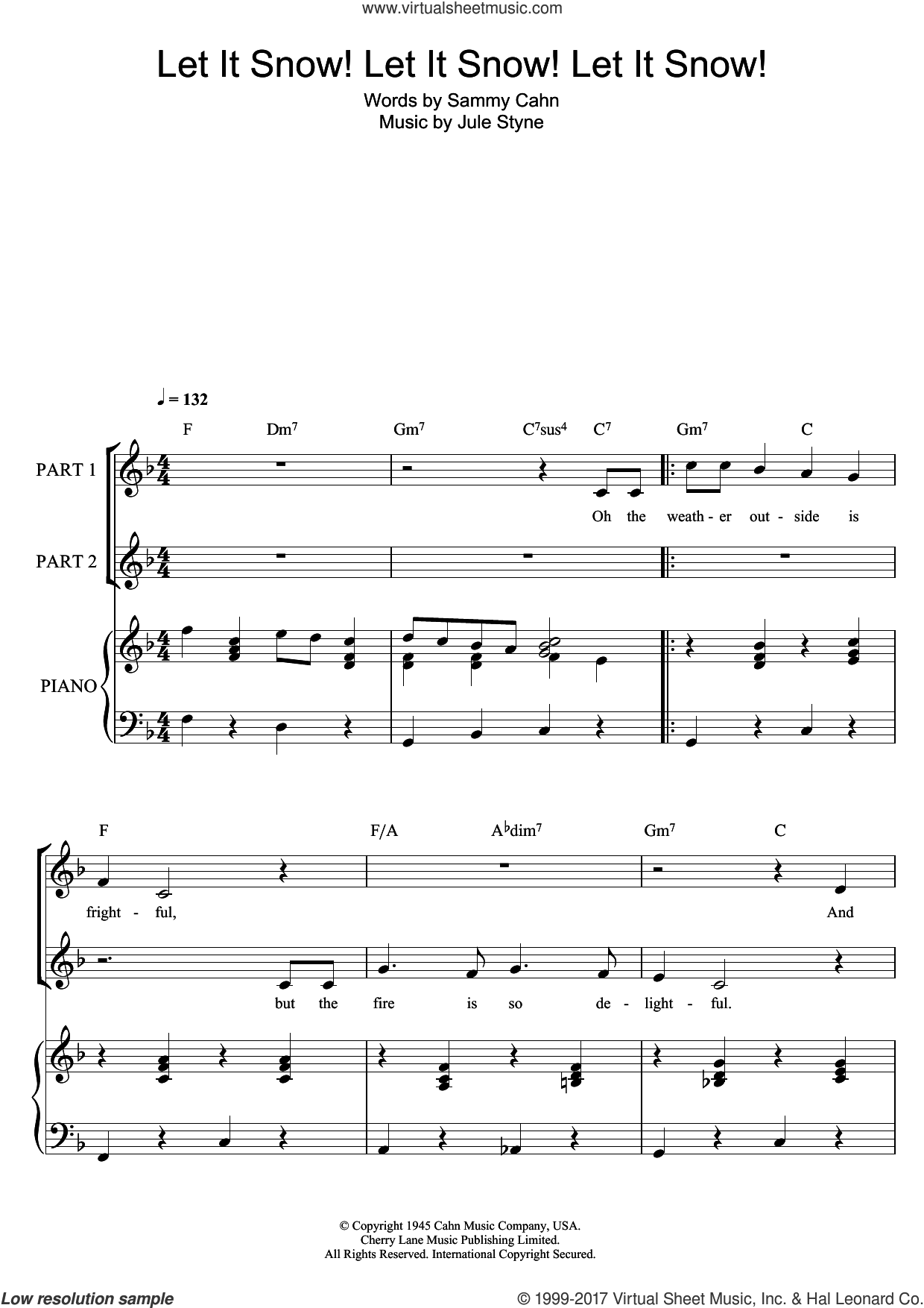 Let It Snow! Let It Snow! Let It Snow! sheet music for choir by Doris Day, Jule Styne and Sammy Cahn, intermediate. Score Image Preview.