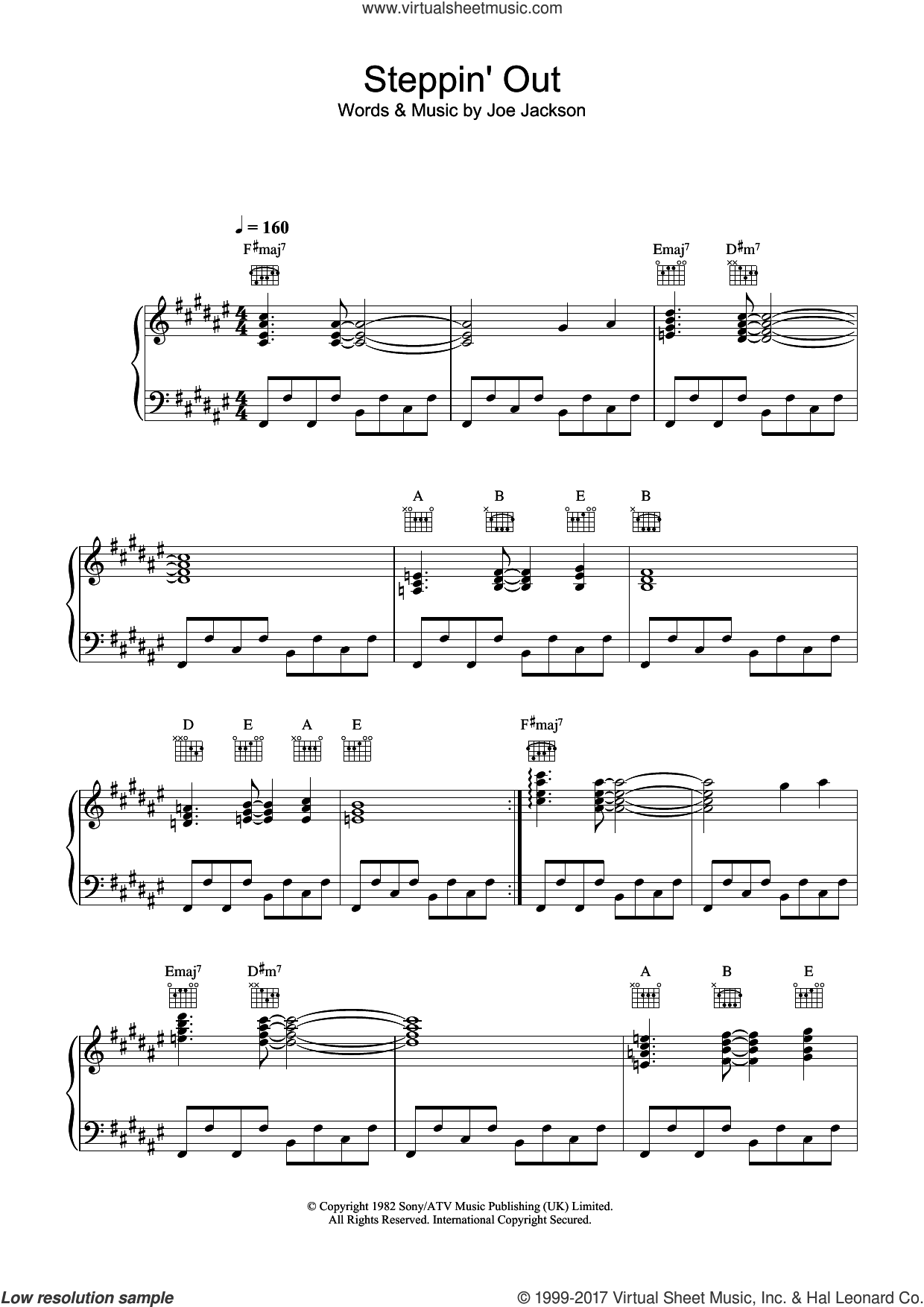 Steppin' Out sheet music for voice, piano or guitar by Joe Jackson, intermediate skill level