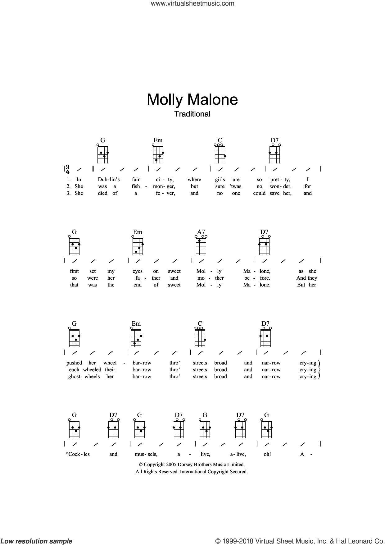 Molly Malone sheet music for ukulele (chords), intermediate skill level