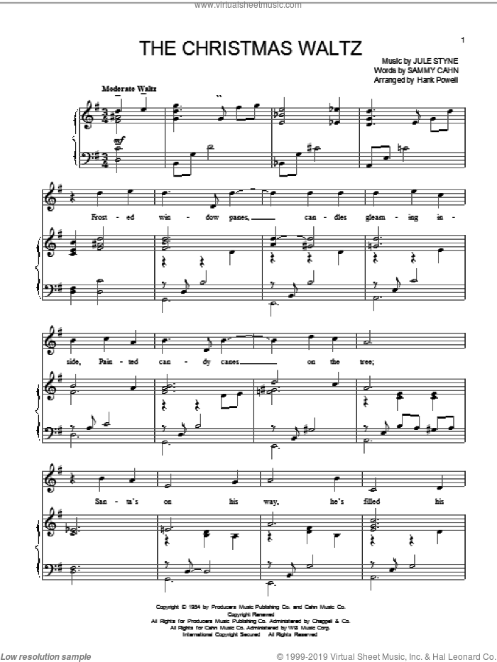 The Christmas Waltz sheet music for voice and piano by Sammy Cahn and Jule Styne, intermediate skill level