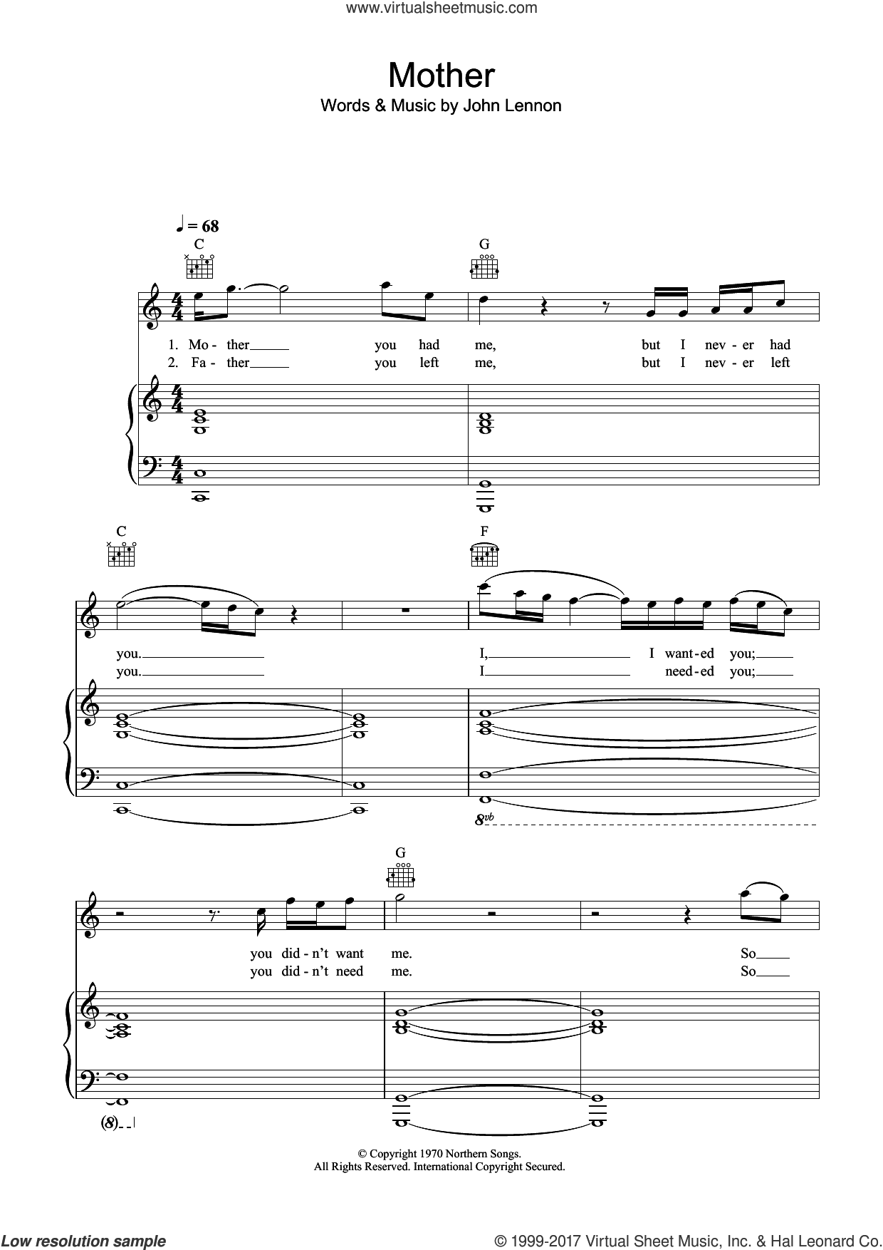 Mother sheet music for voice, piano or guitar by John Lennon, intermediate. Score Image Preview.