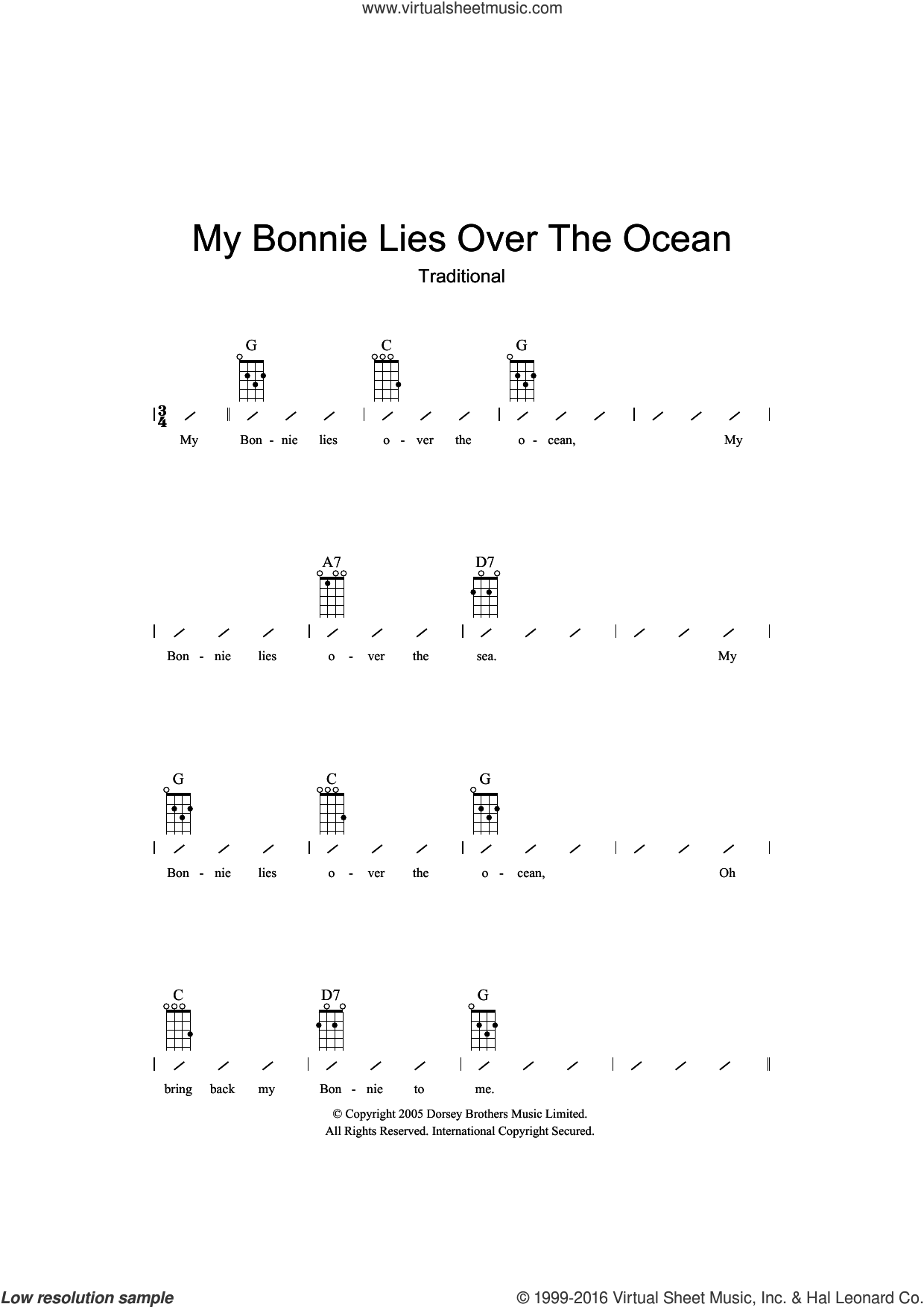 My Bonnie Lies Over The Ocean sheet music for ukulele (chords), intermediate skill level