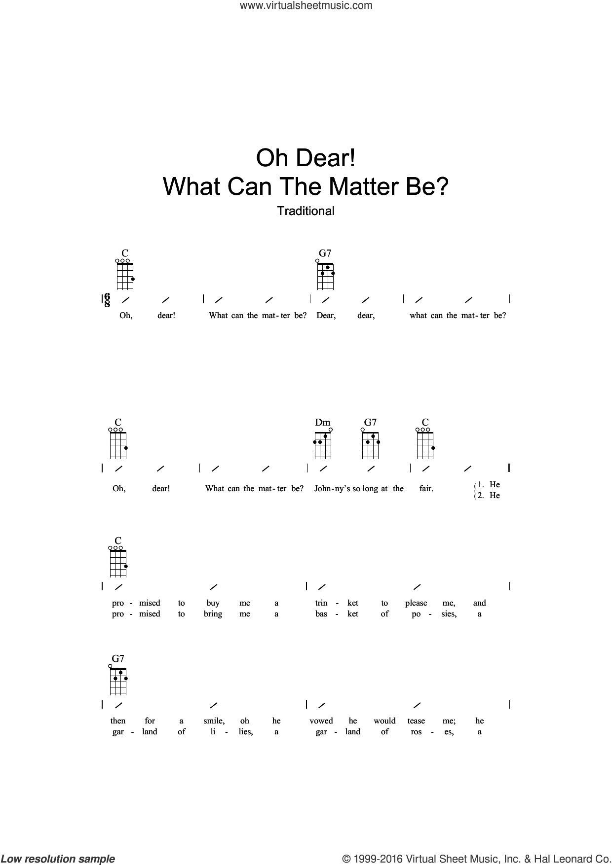 Oh Dear What Can The Matter Be? sheet music for ukulele (chords), intermediate skill level