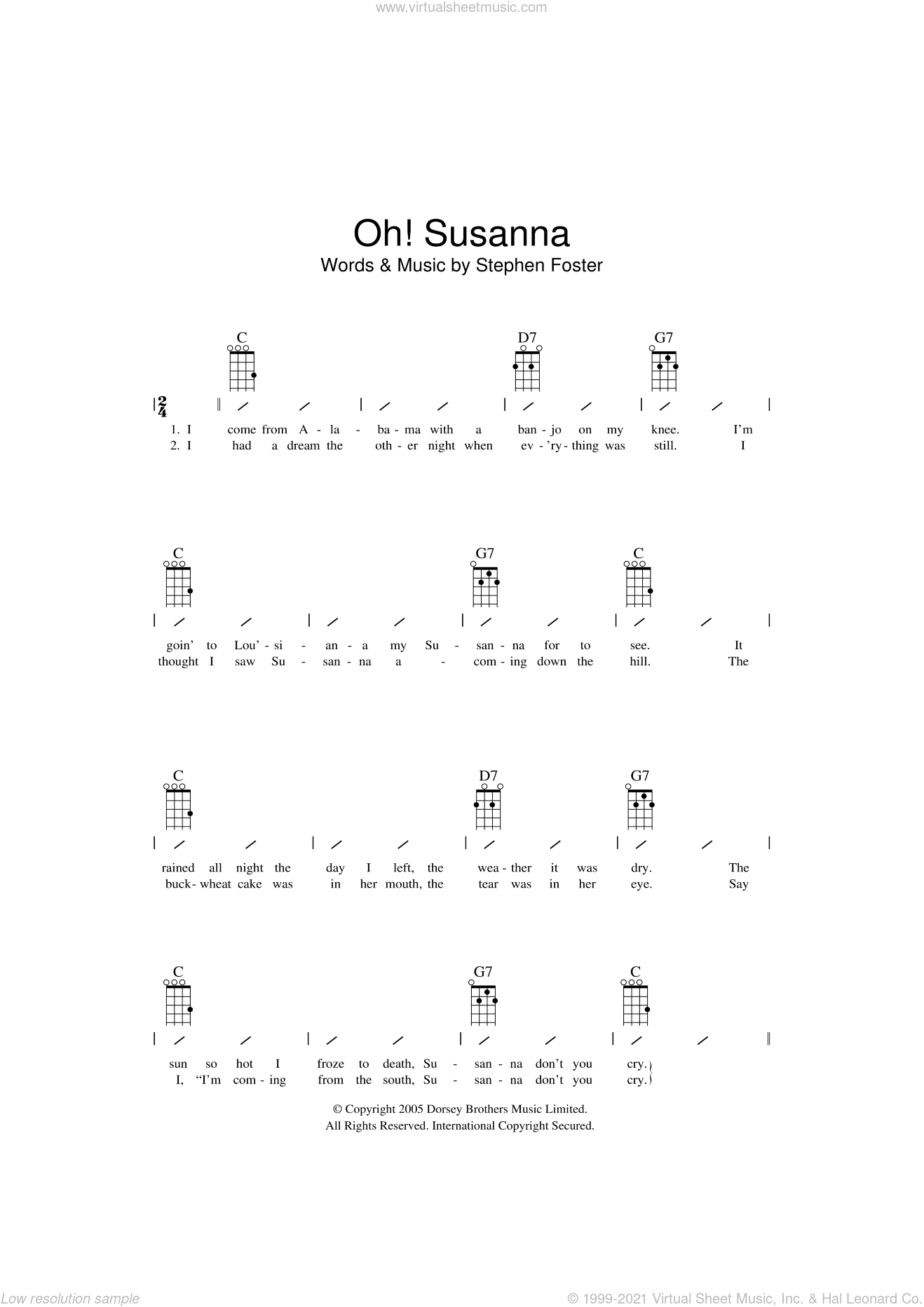 Oh! Susanna sheet music for ukulele (chords) by Stephen Foster and Miscellaneous, intermediate skill level
