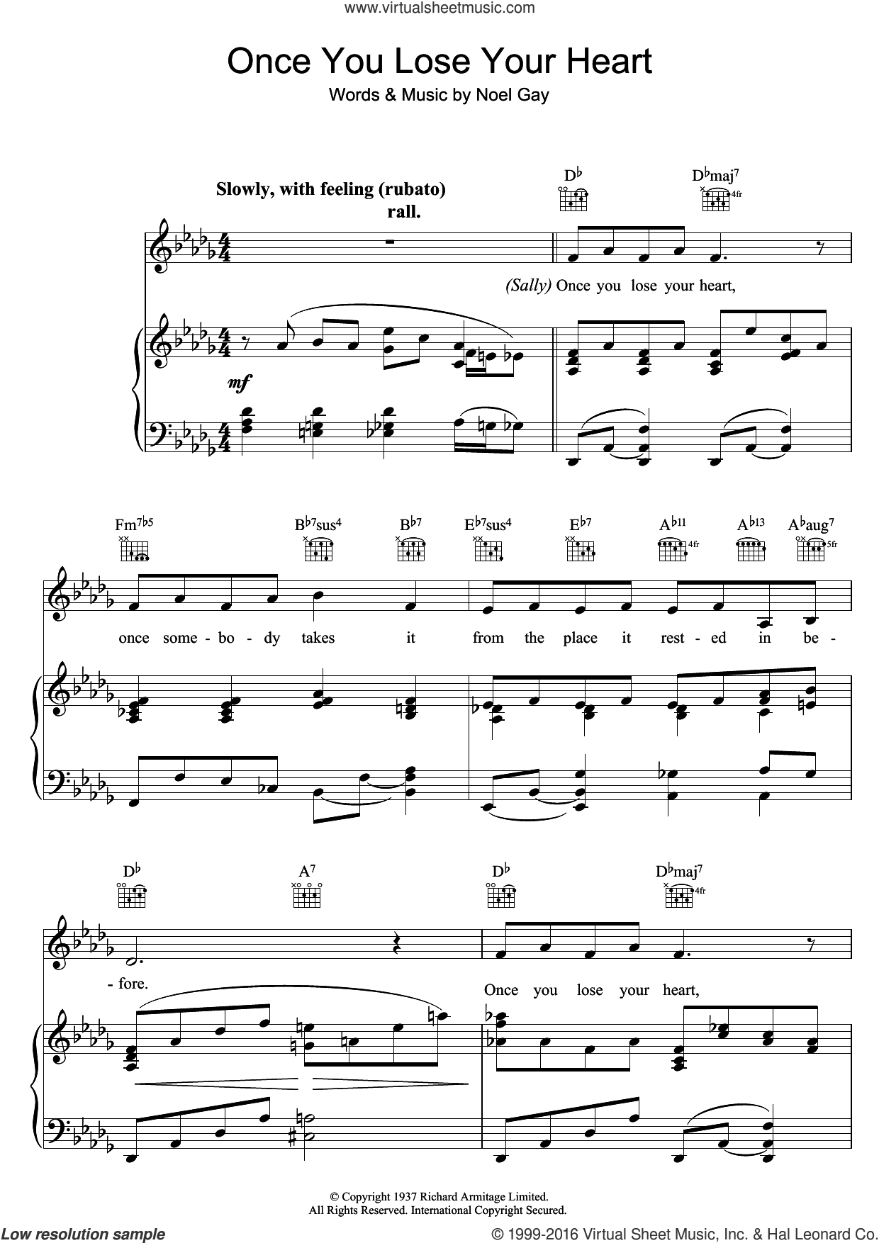 Once You Lose Your Heart (from Me And My Girl) sheet music for voice, piano or guitar by Noel Gay, intermediate skill level