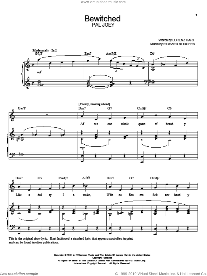 Bewitched sheet music for voice and piano by Rodgers & Hart, Pal Joey (Musical), Lorenz Hart and Richard Rodgers, intermediate skill level