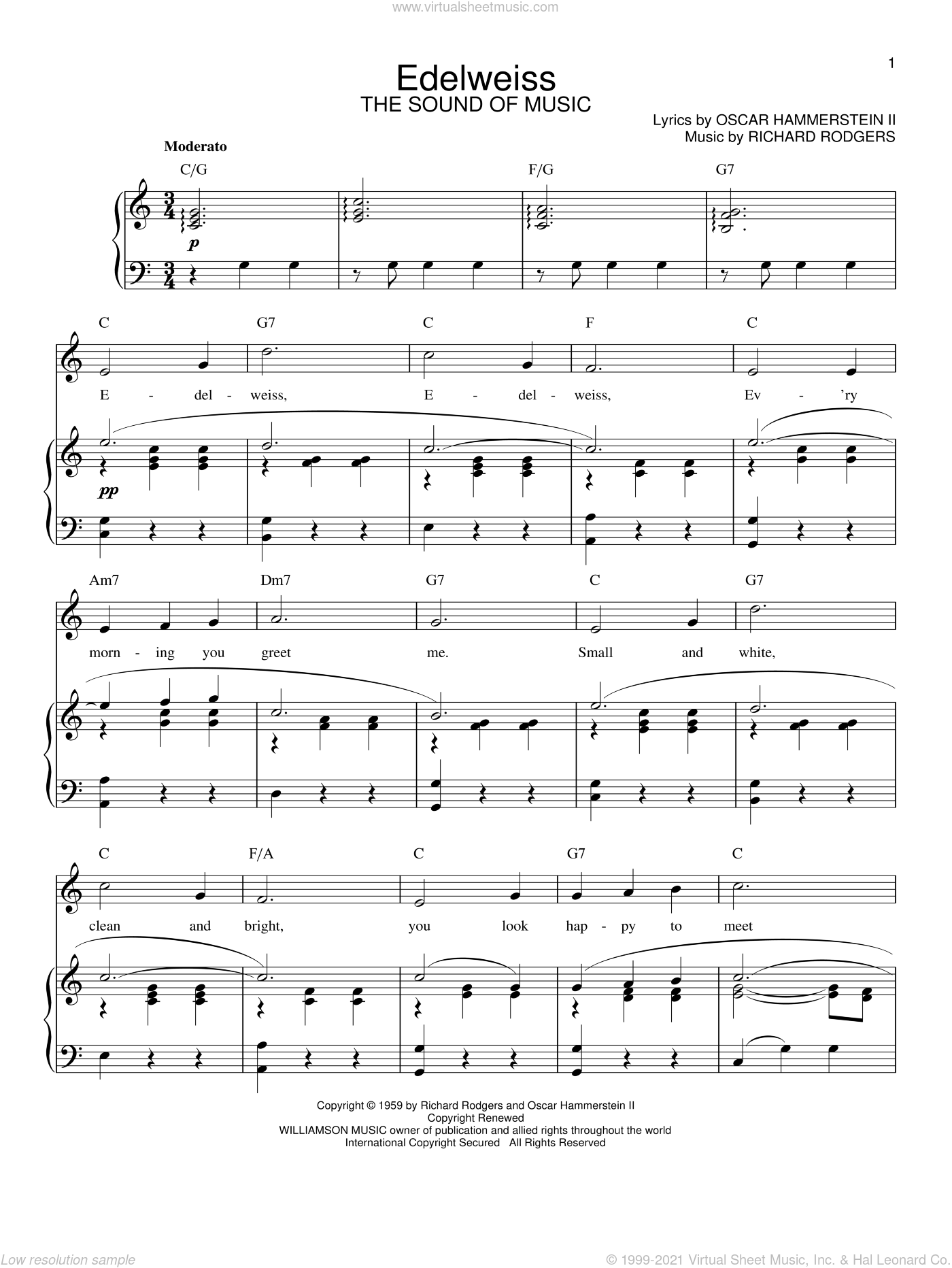 Edelweiss sheet music for voice and piano by Rodgers & Hammerstein, The Sound Of Music (Musical), Oscar II Hammerstein and Richard Rodgers, intermediate skill level