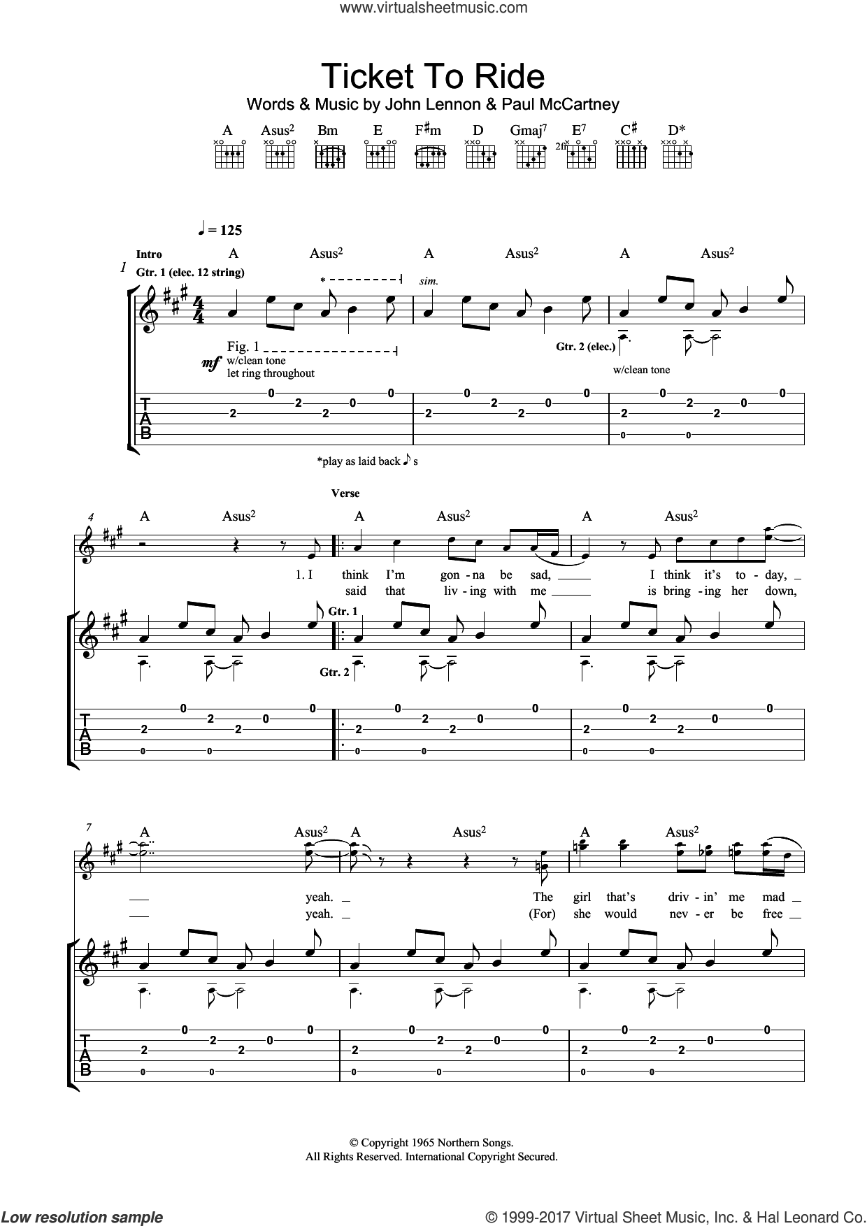 Ticket To Ride sheet music for guitar (tablature) by The Beatles, John Lennon and Paul McCartney, intermediate skill level
