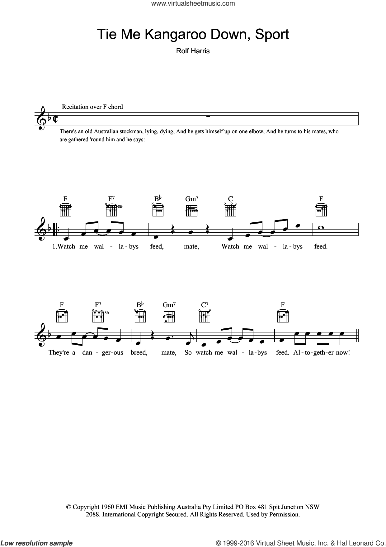 Tie Me Kangaroo Down Sport sheet music for voice and other instruments (fake book) by Rolf Harris, intermediate. Score Image Preview.