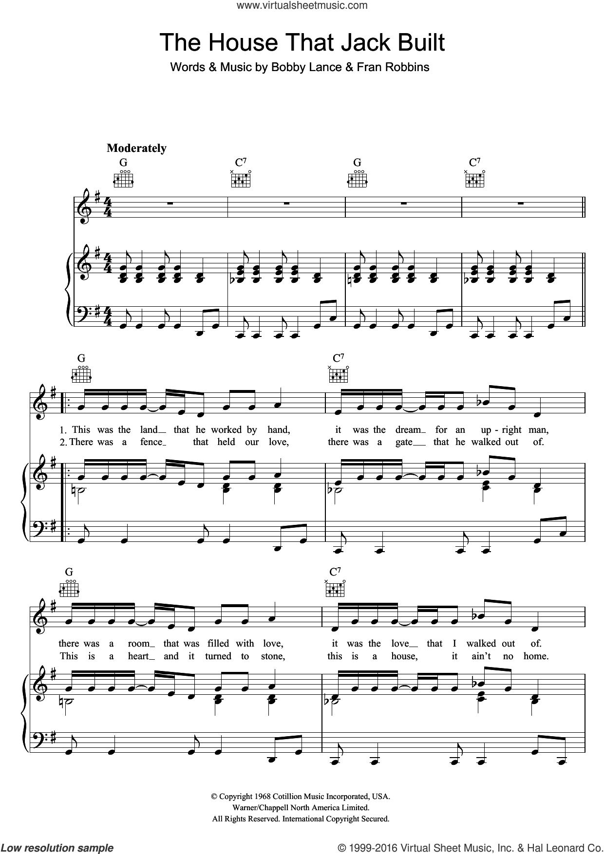 The House That Jack Built sheet music for voice, piano or guitar by Aretha Franklin, intermediate. Score Image Preview.