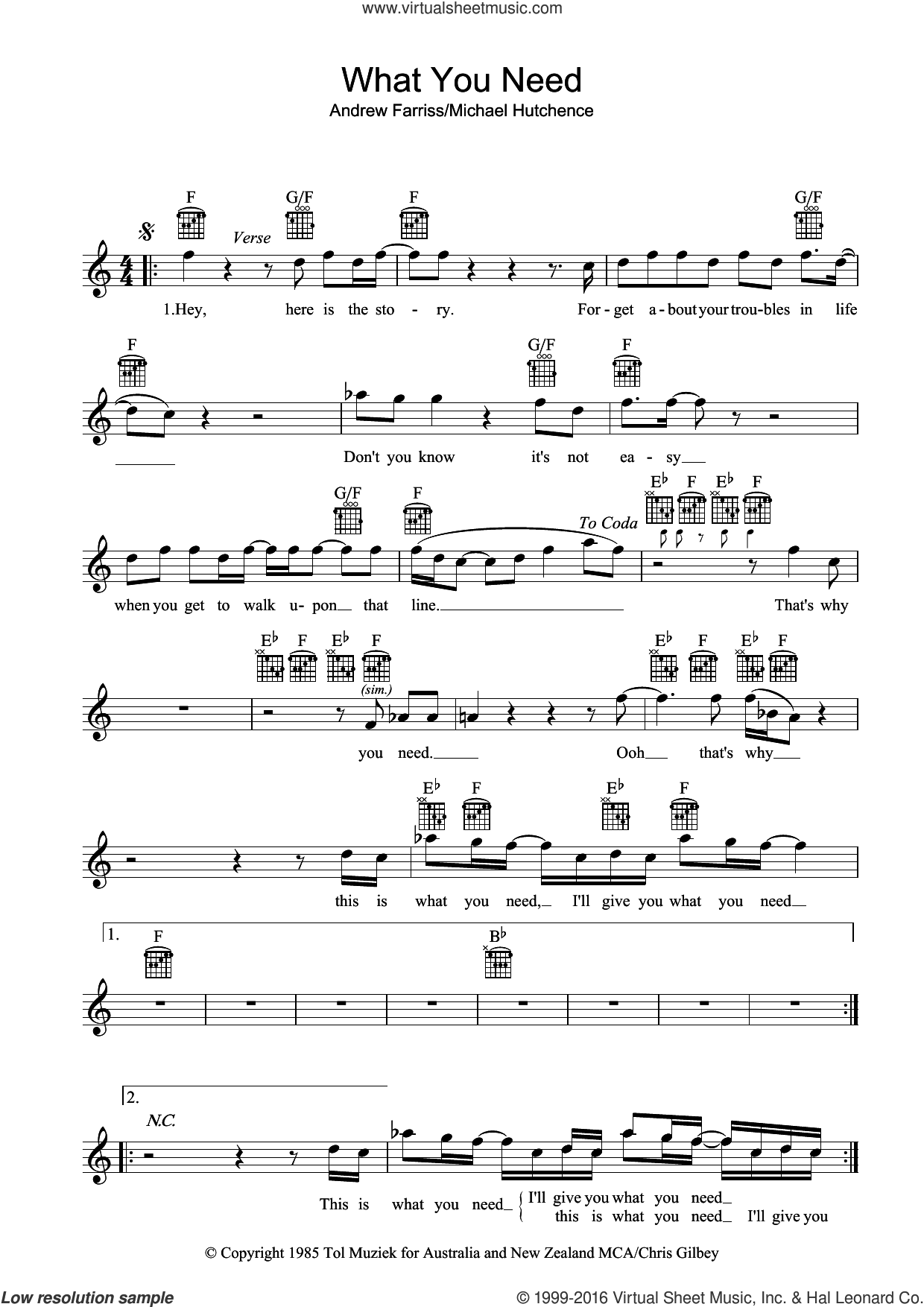 What You Need sheet music for voice and other instruments (fake book) by INXS. Score Image Preview.
