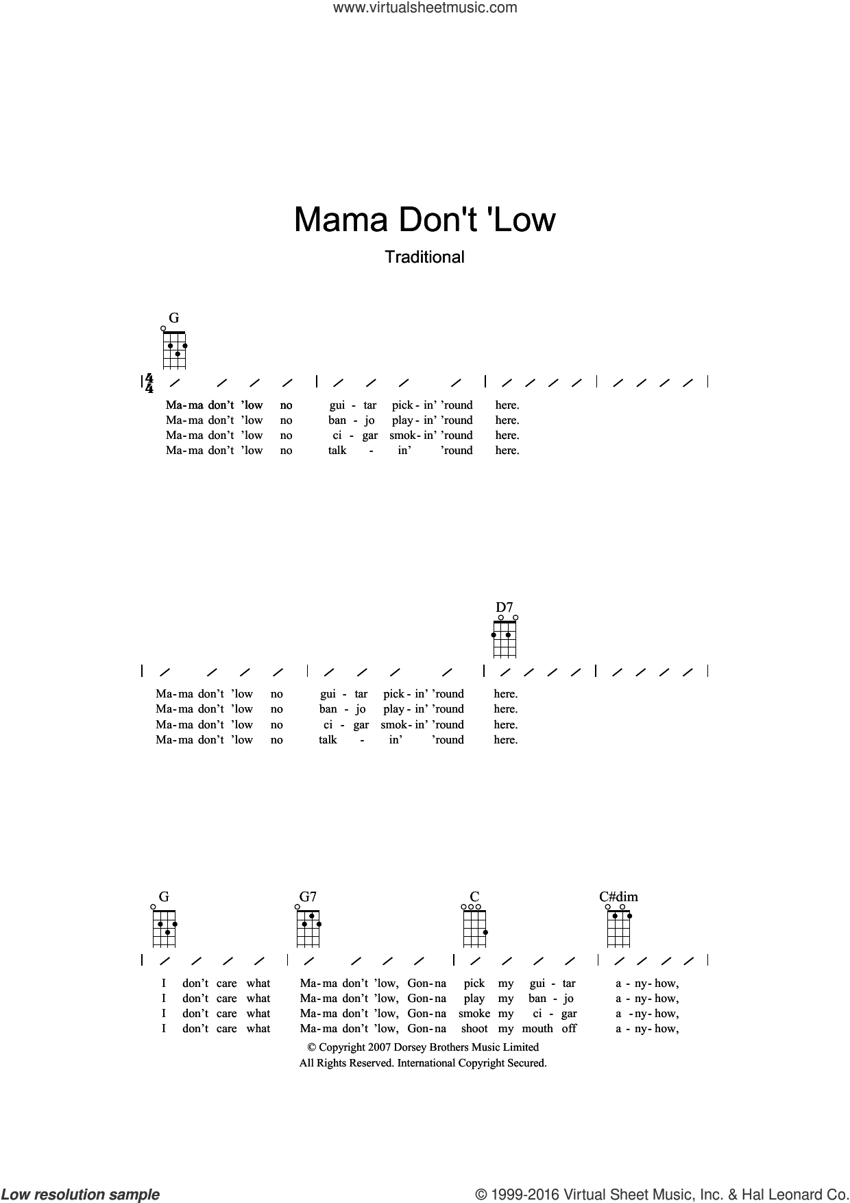Mama Don't 'low sheet music for ukulele (chords), intermediate skill level